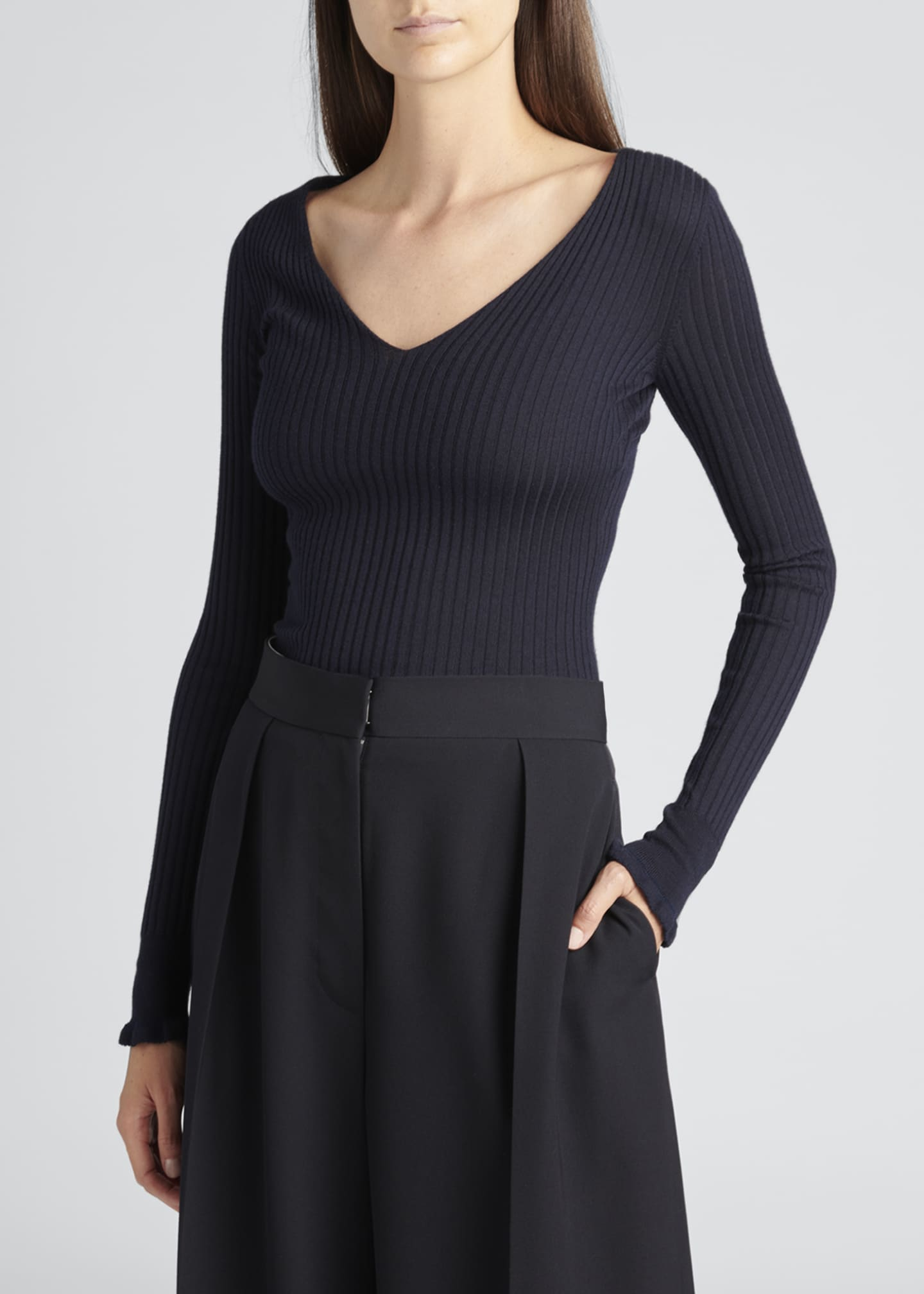 Image 2 of 3: Arthur Ribbed V-Neck Top