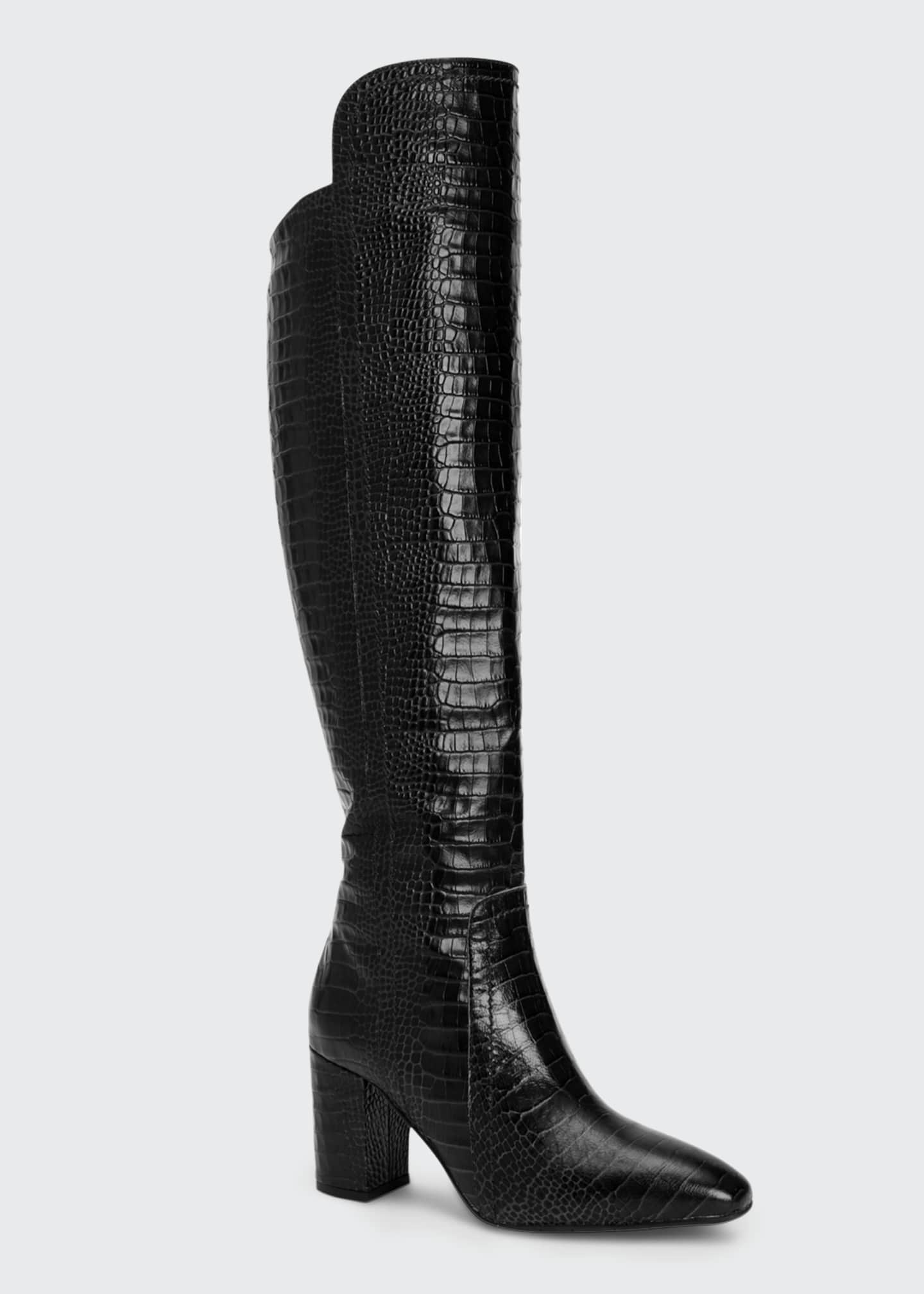 Image 2 of 4: 70mm Florina Mock-Croc Over-the-Knee Boots