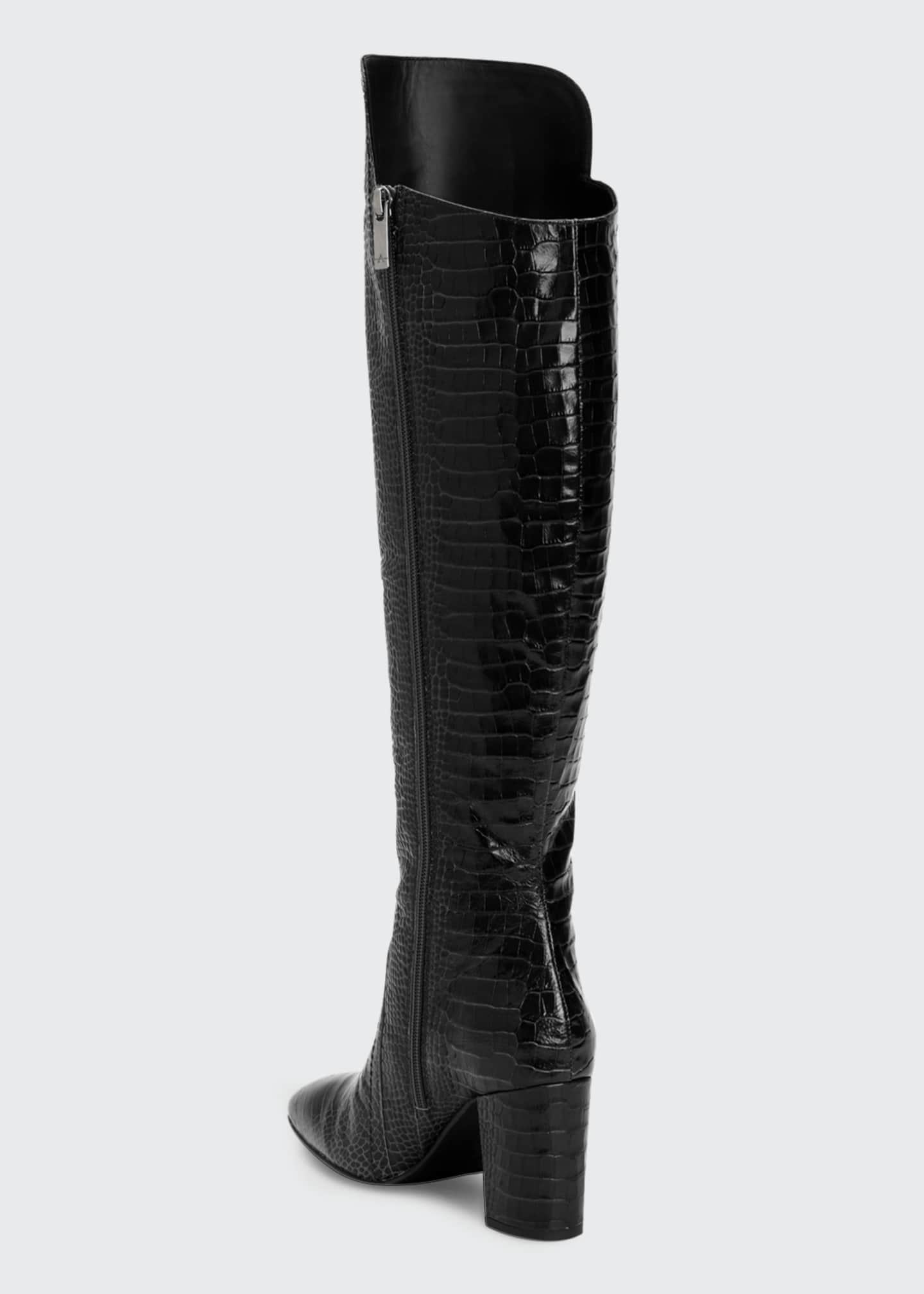 Image 3 of 4: 70mm Florina Mock-Croc Over-the-Knee Boots