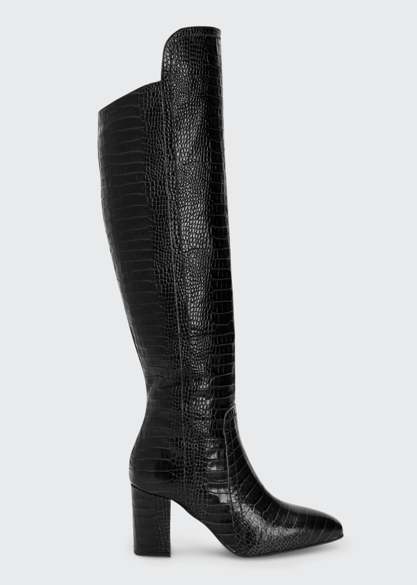 Image 1 of 4: 70mm Florina Mock-Croc Over-the-Knee Boots