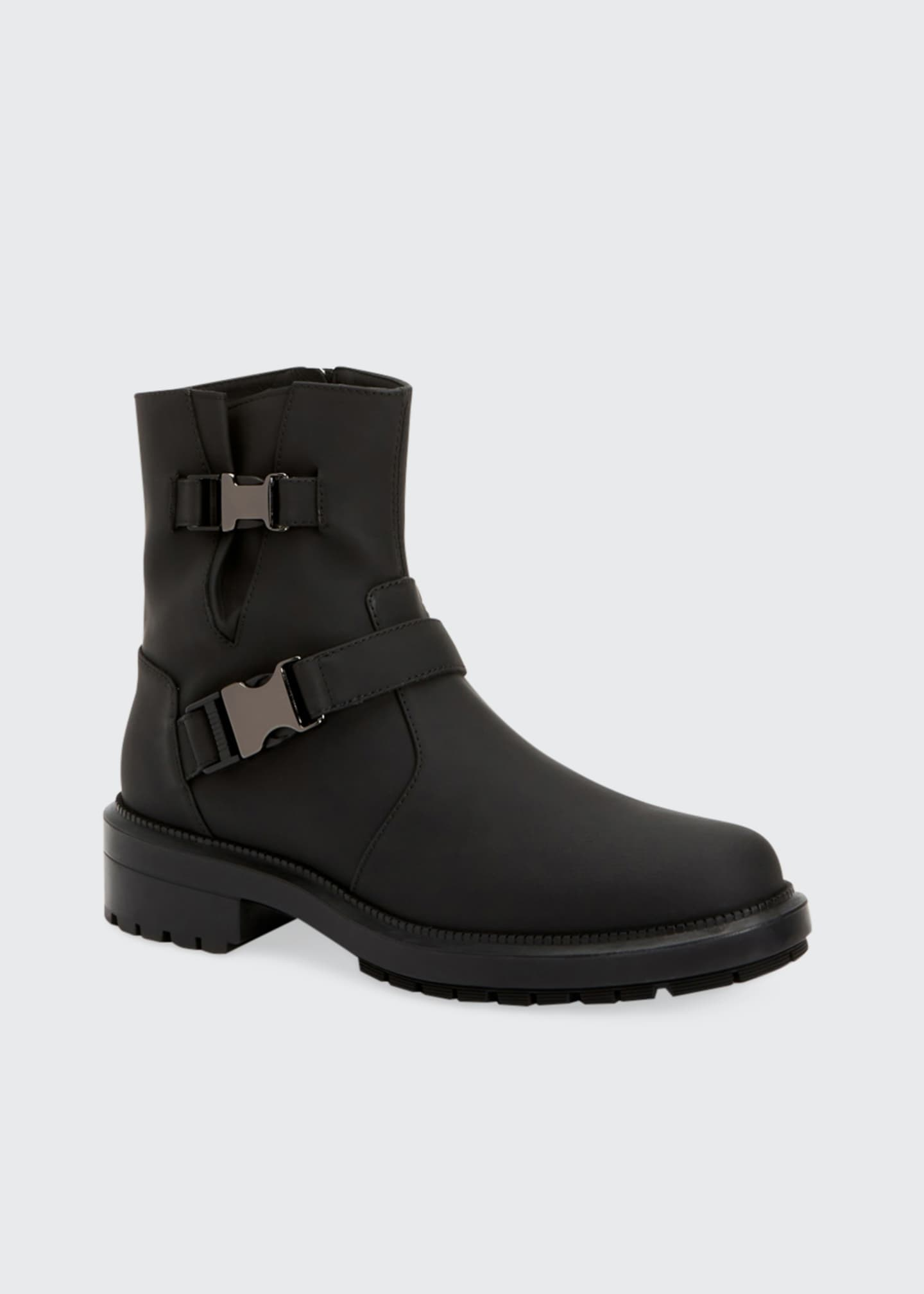 Image 2 of 4: Lillie Leather Buckle Combat Booties