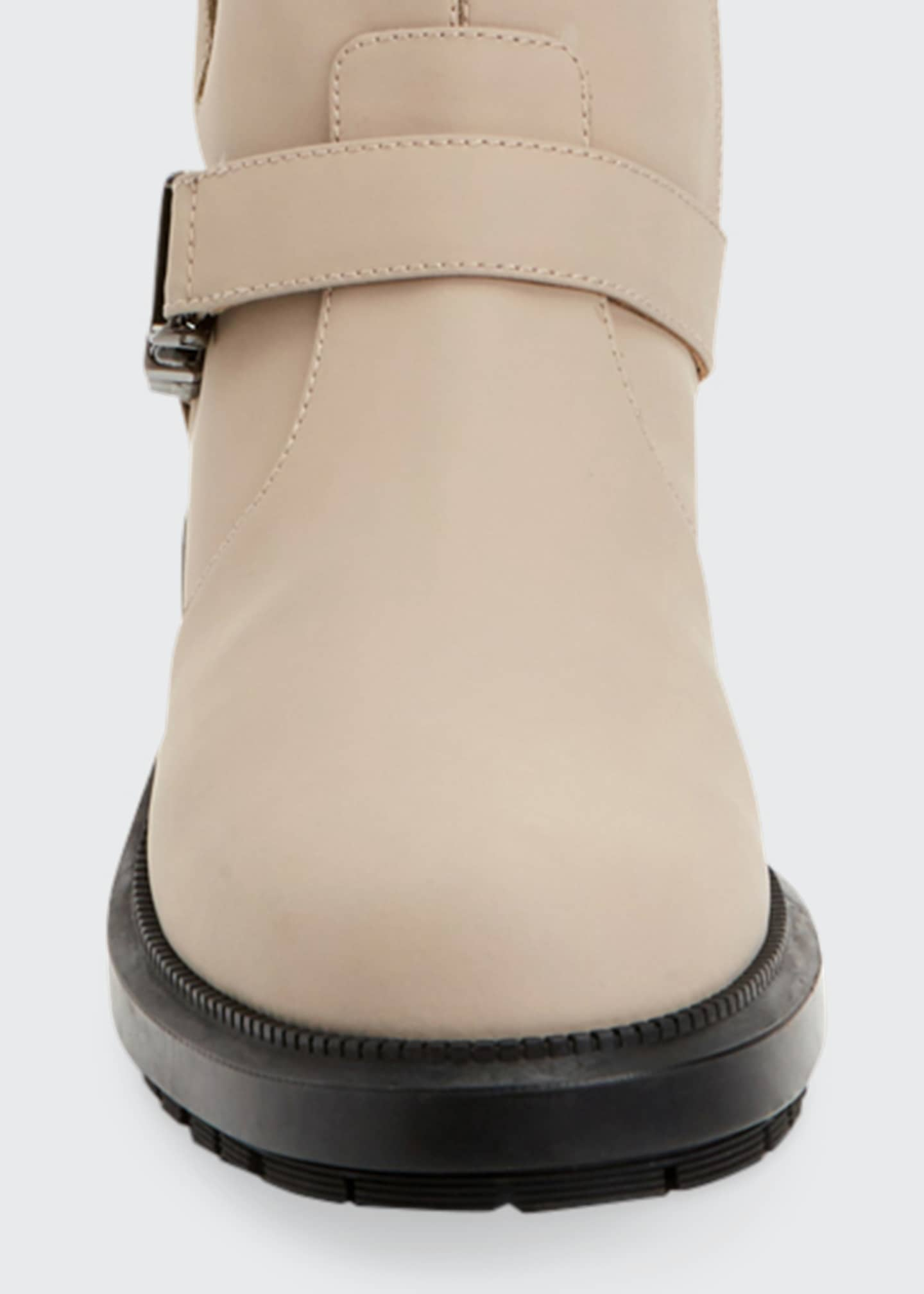 Image 4 of 4: Lillie Leather Buckle Combat Booties