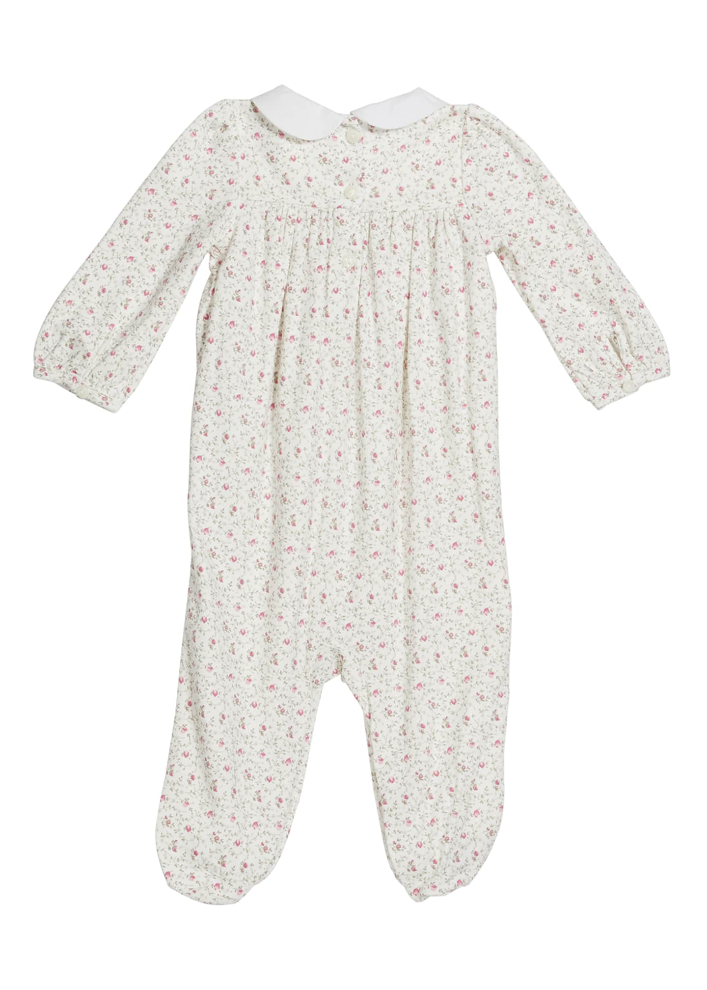 Image 2 of 2: Girl's Floral Shirred Footie Playsuit, Size 0-9M