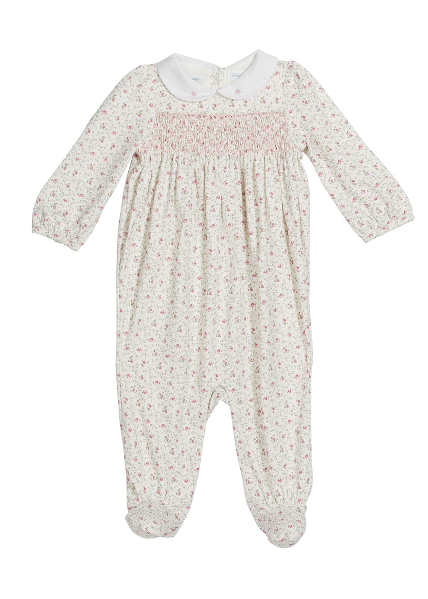 Image 1 of 2: Girl's Floral Shirred Footie Playsuit, Size 0-9M