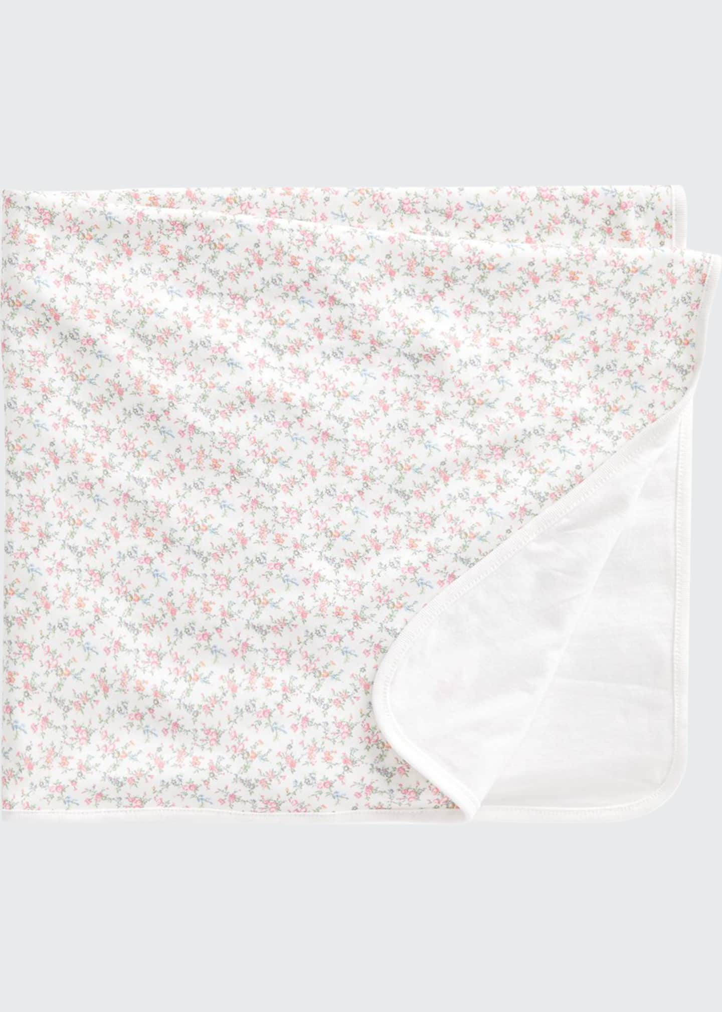 Image 1 of 1: Girl's Reversible Floral Cotton Baby Blanket