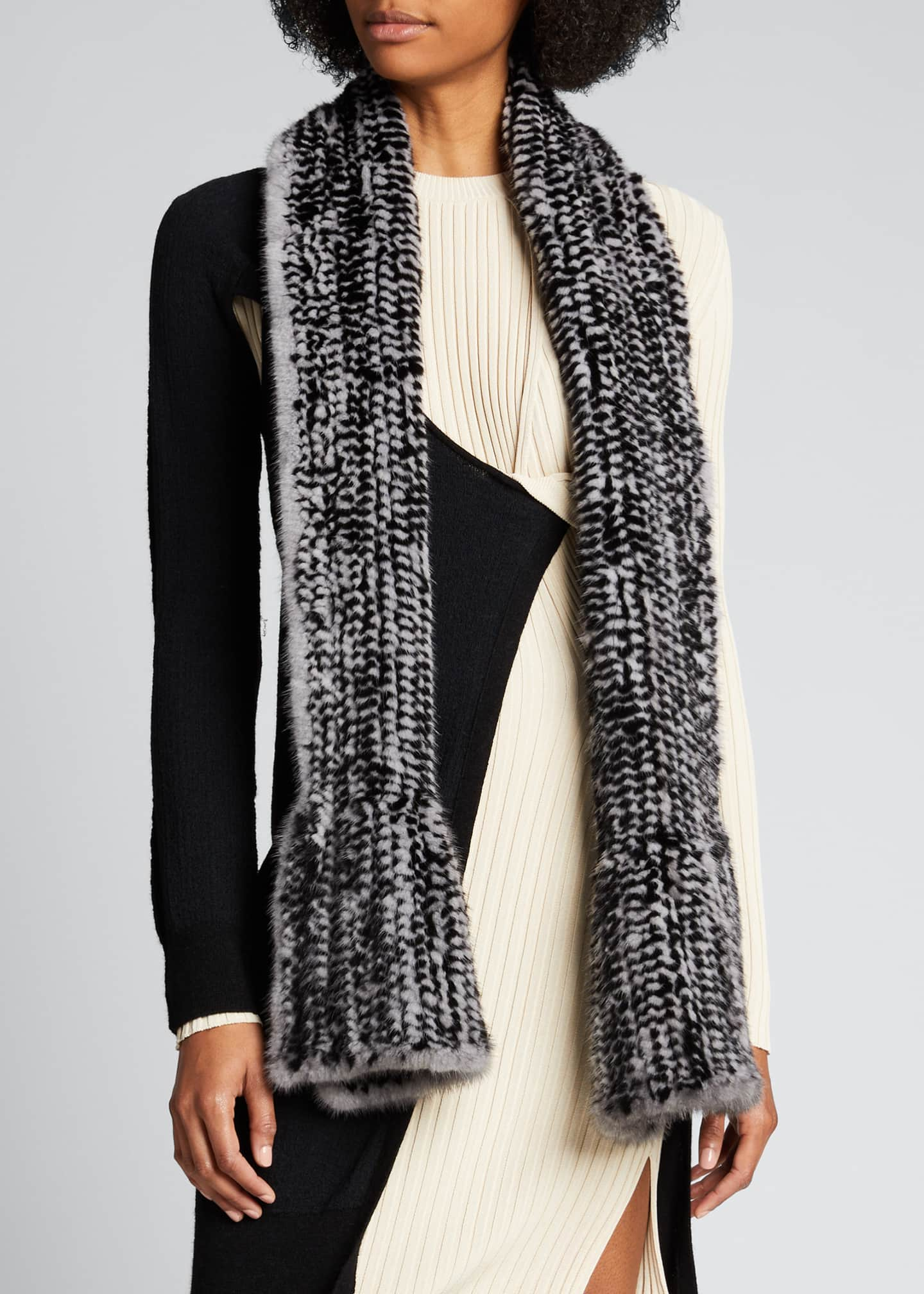 Image 3 of 4: Mink Scarf, Black/Gray