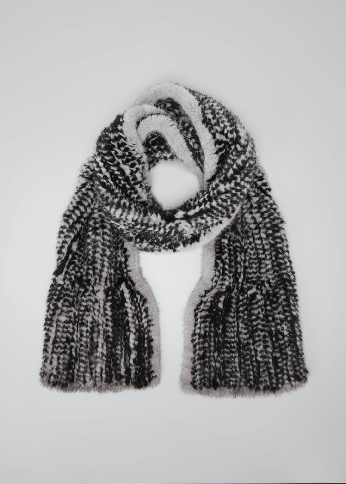Image 1 of 4: Mink Scarf, Black/Gray