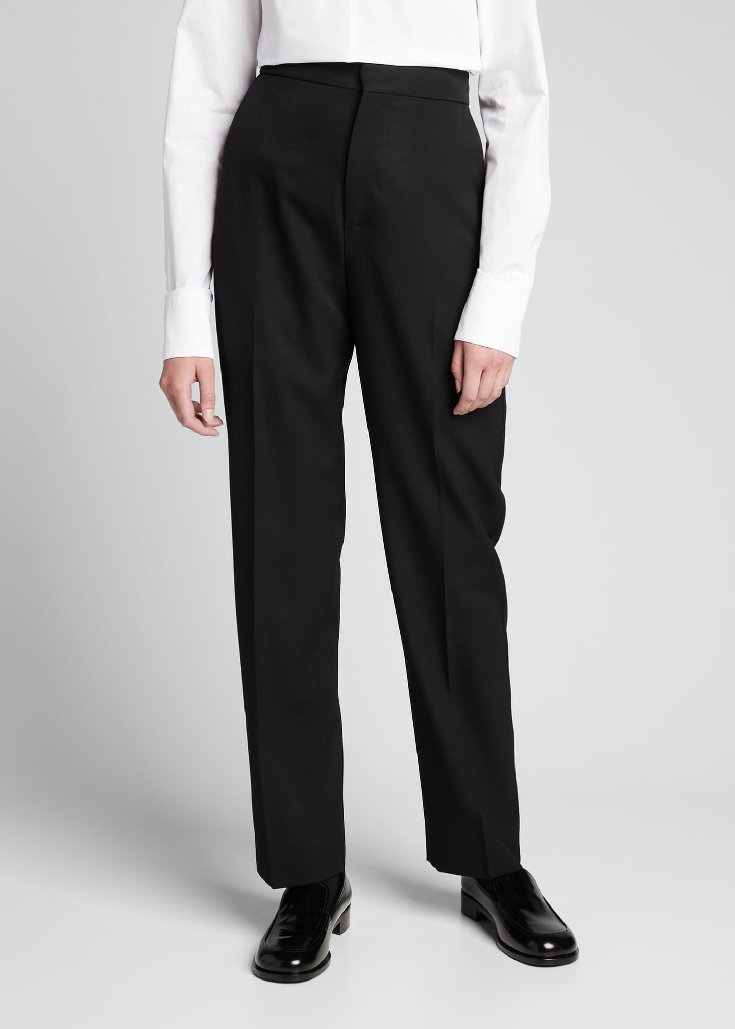 Image 3 of 5: Wool Straight-Leg Trousers