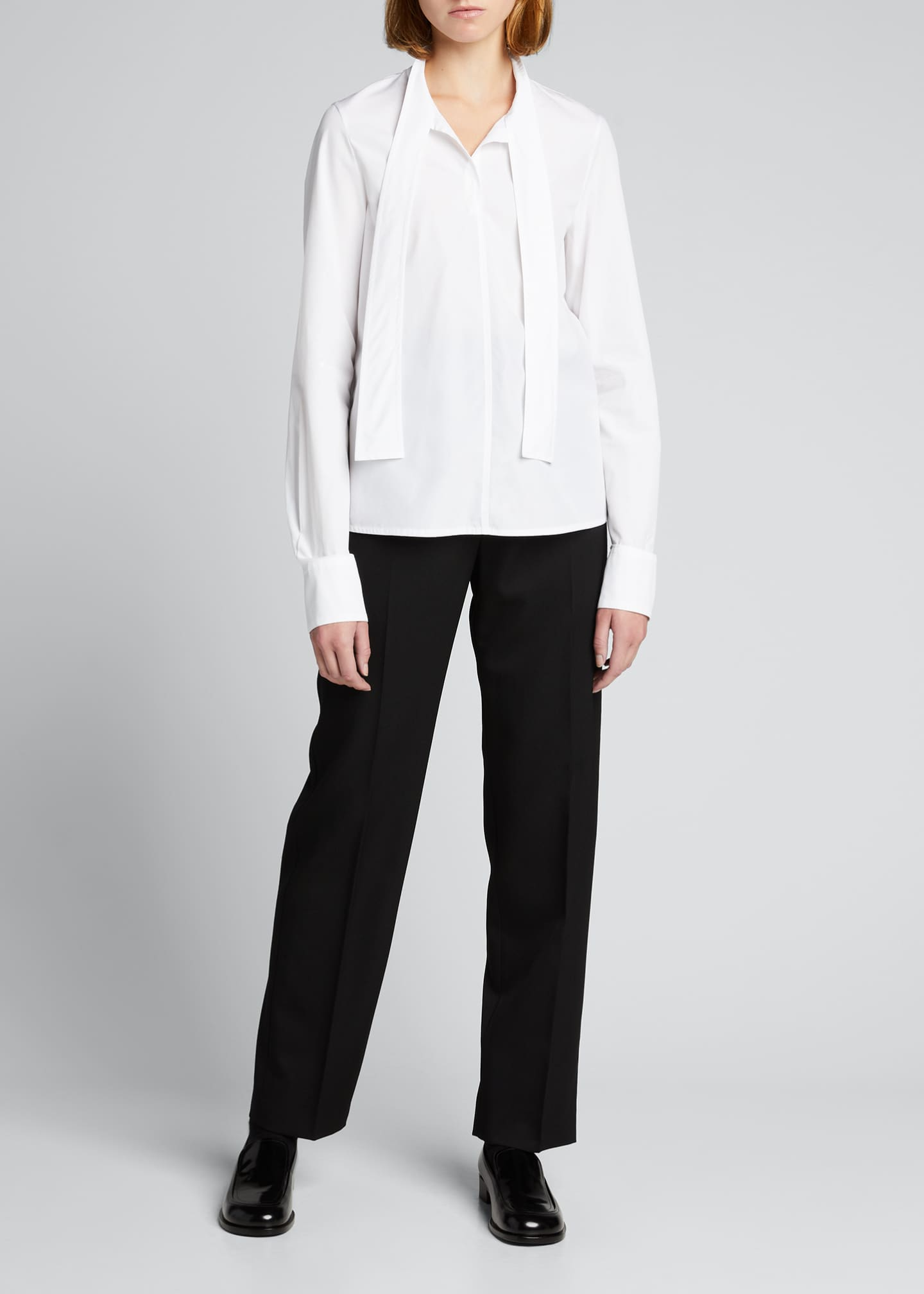 Image 1 of 5: Wool Straight-Leg Trousers