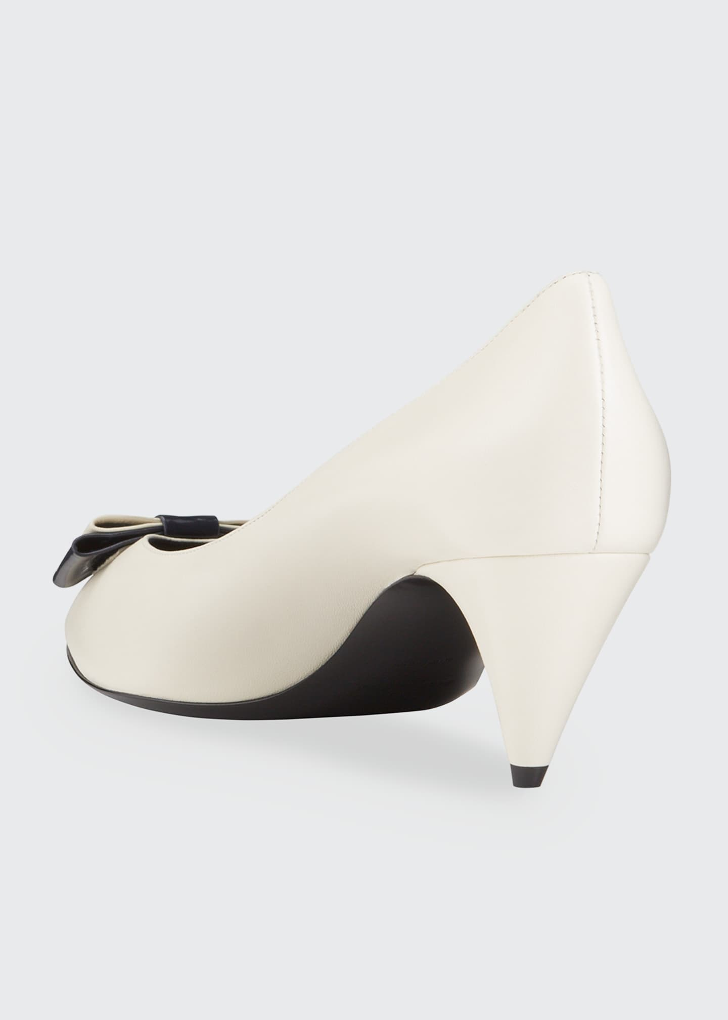 Image 4 of 5: Anai YSL Bow Leather Pumps