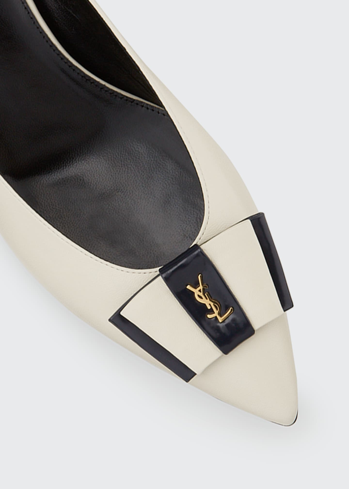 Image 5 of 5: Anai YSL Bow Leather Pumps