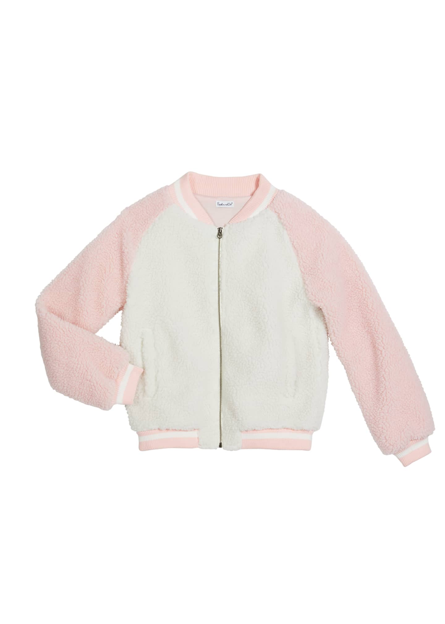 Image 1 of 1: Girl's Sherpa Baseball-Collar Bomber Jacket, Size 7-14