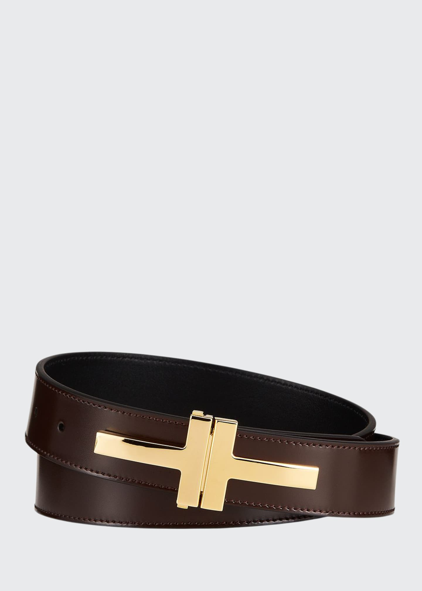 Image 1 of 1: Men's Double T Buckle Leather Belt