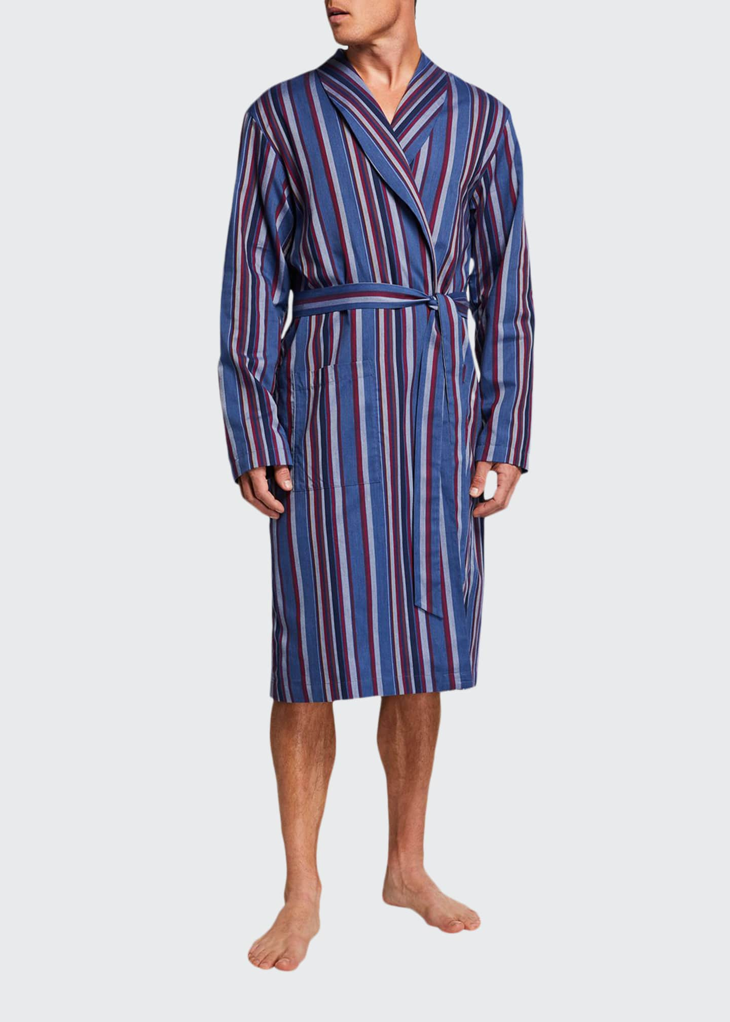 Image 1 of 2: Men's Striped Woven Cotton-Blend Bathrobe
