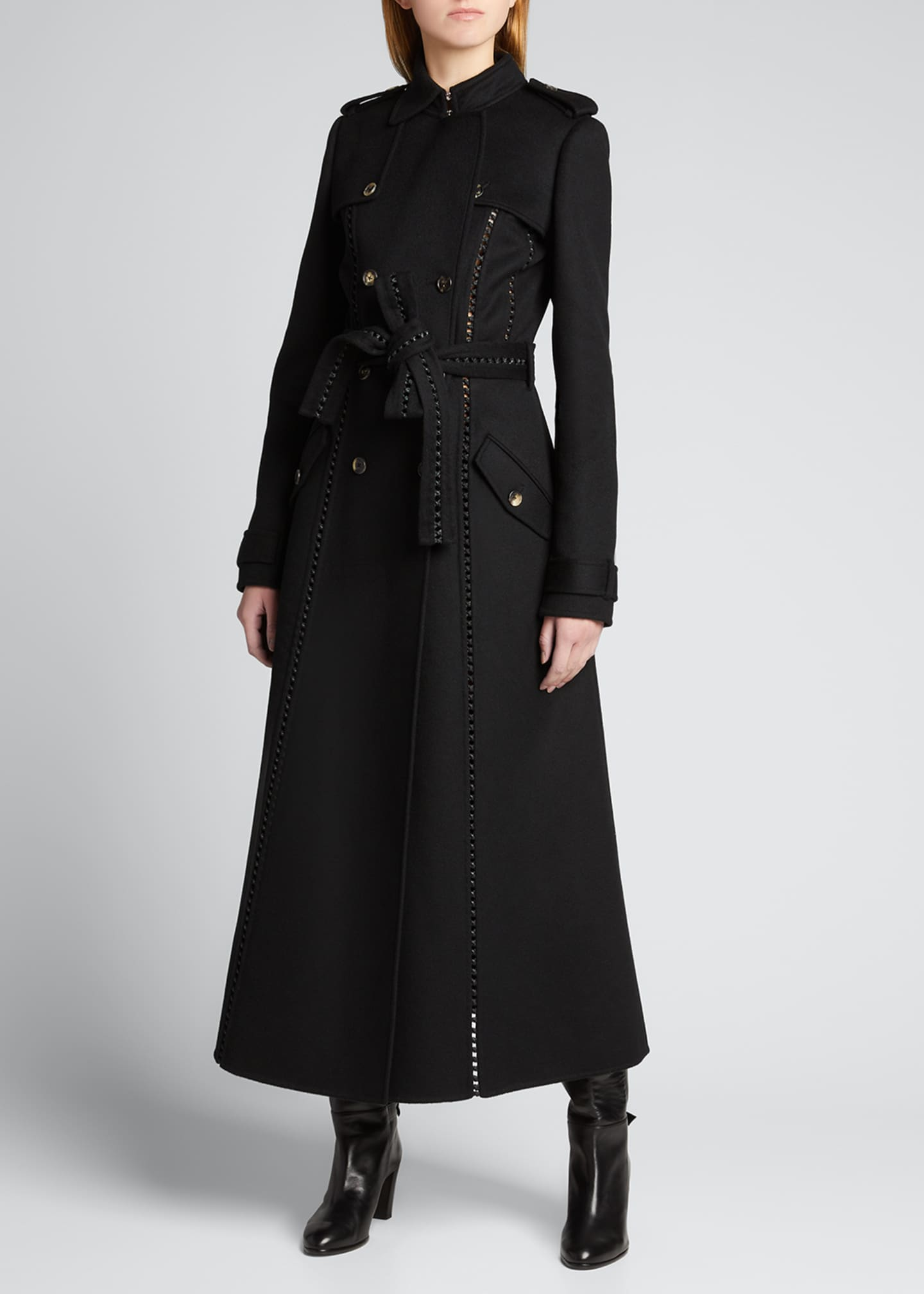 Image 3 of 5: Franz Knotted Cashmere Lace-Up Trench Coat