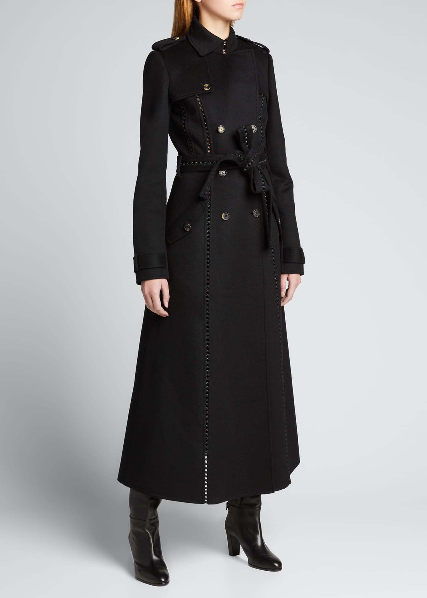 Image 1 of 5: Franz Knotted Cashmere Lace-Up Trench Coat