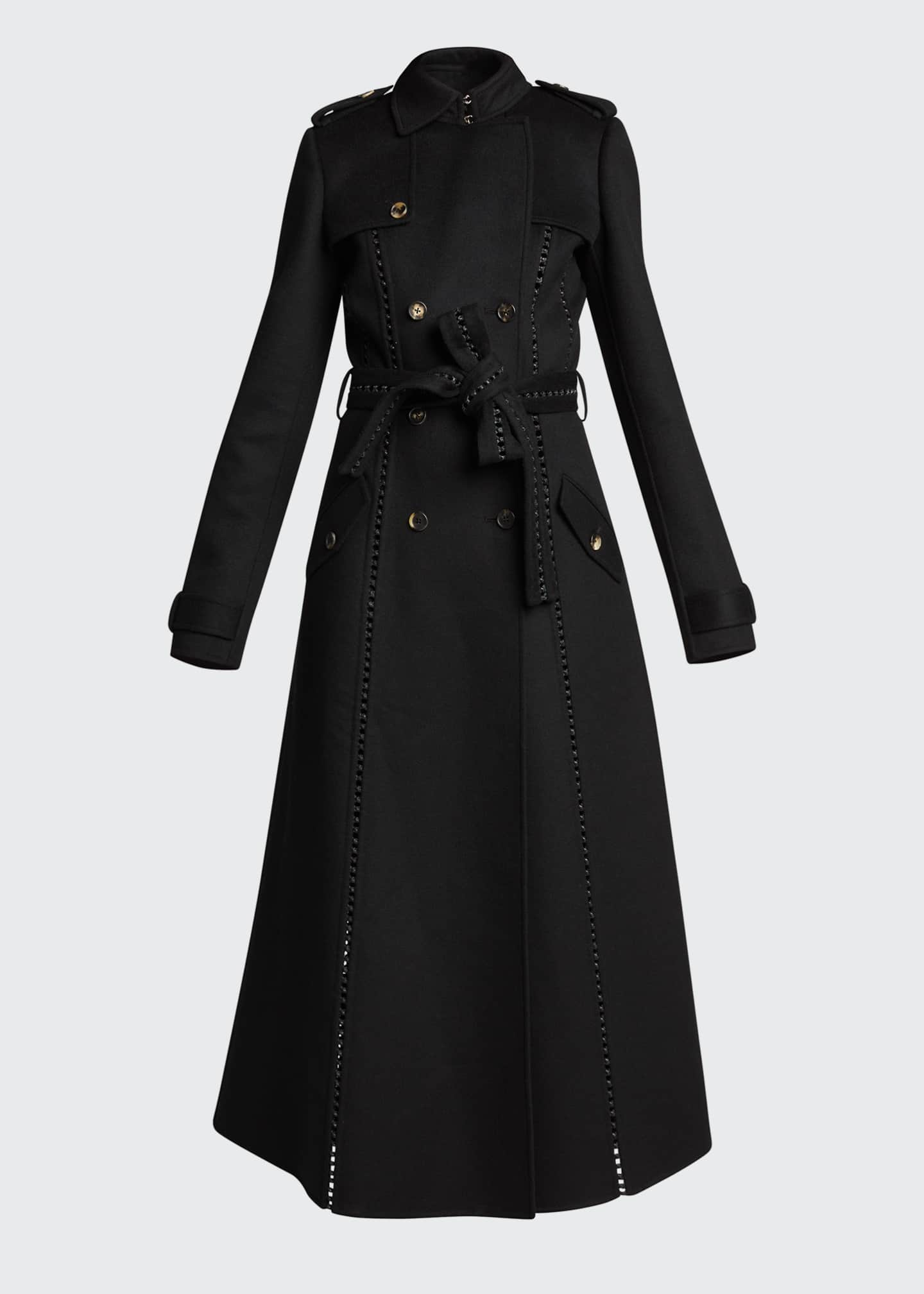 Image 5 of 5: Franz Knotted Cashmere Lace-Up Trench Coat