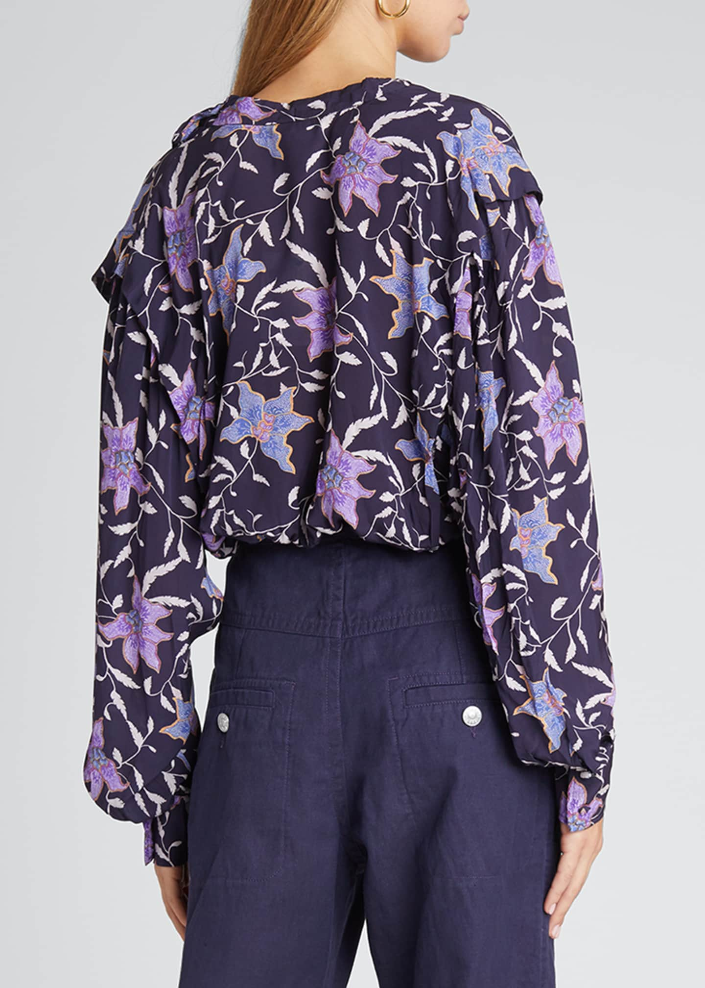 Image 2 of 5: Oxel City Floral Draped Blouse