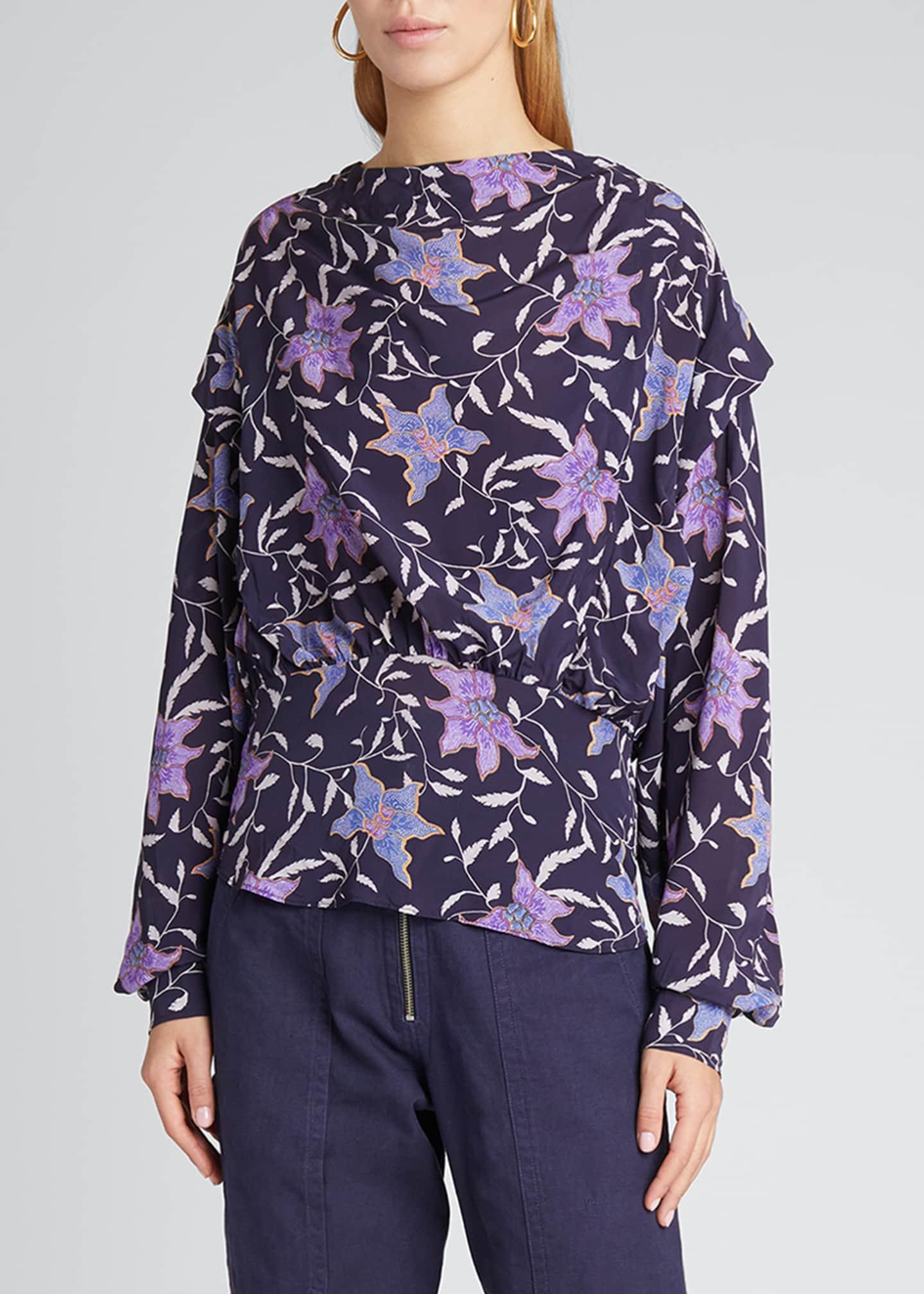 Image 3 of 5: Oxel City Floral Draped Blouse