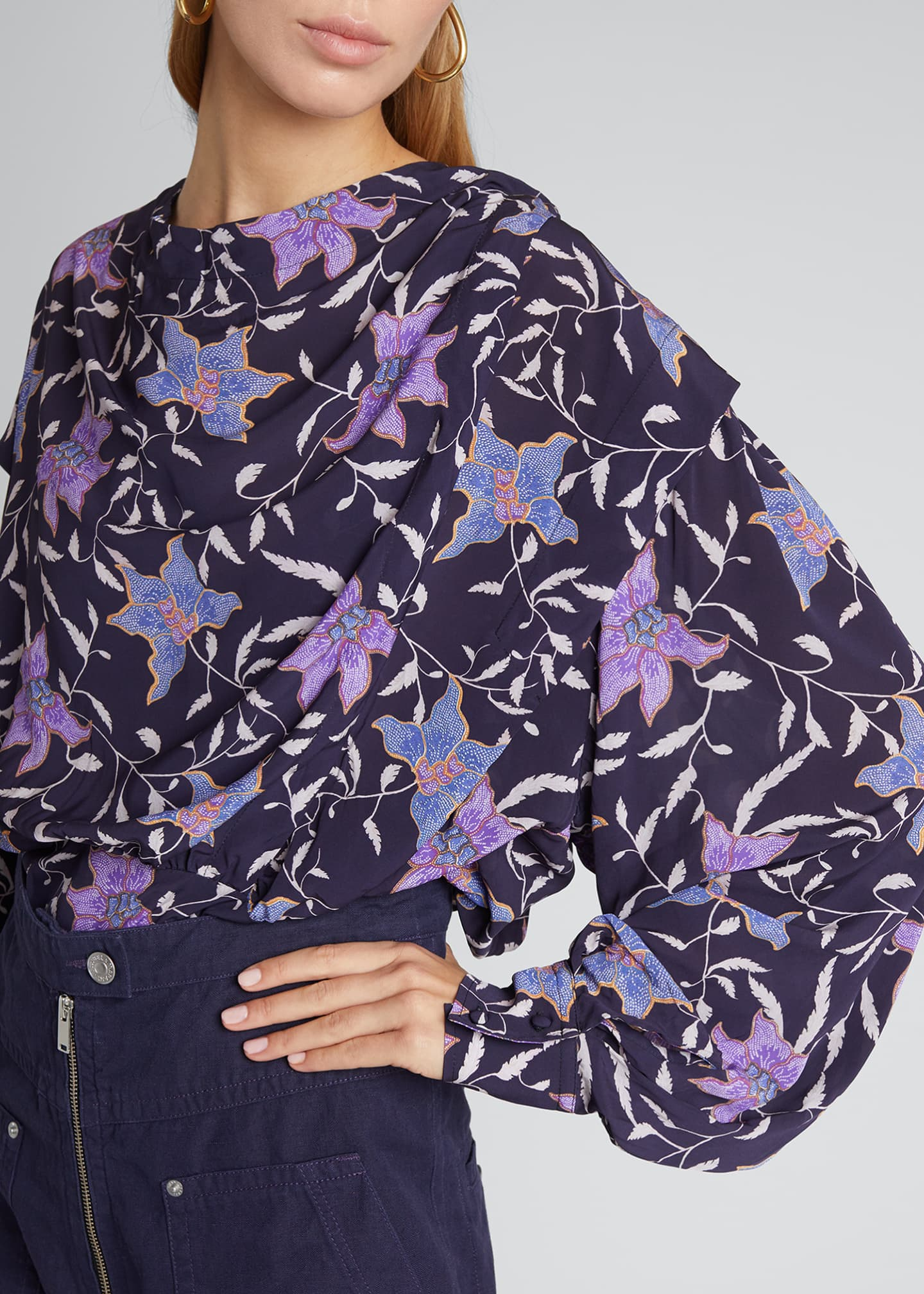 Image 4 of 5: Oxel City Floral Draped Blouse