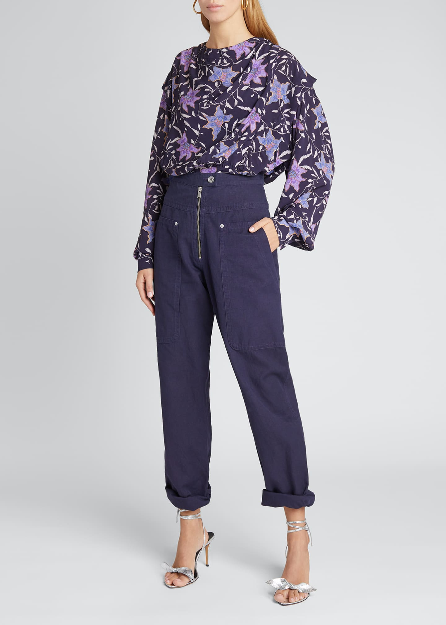 Image 1 of 5: Oxel City Floral Draped Blouse