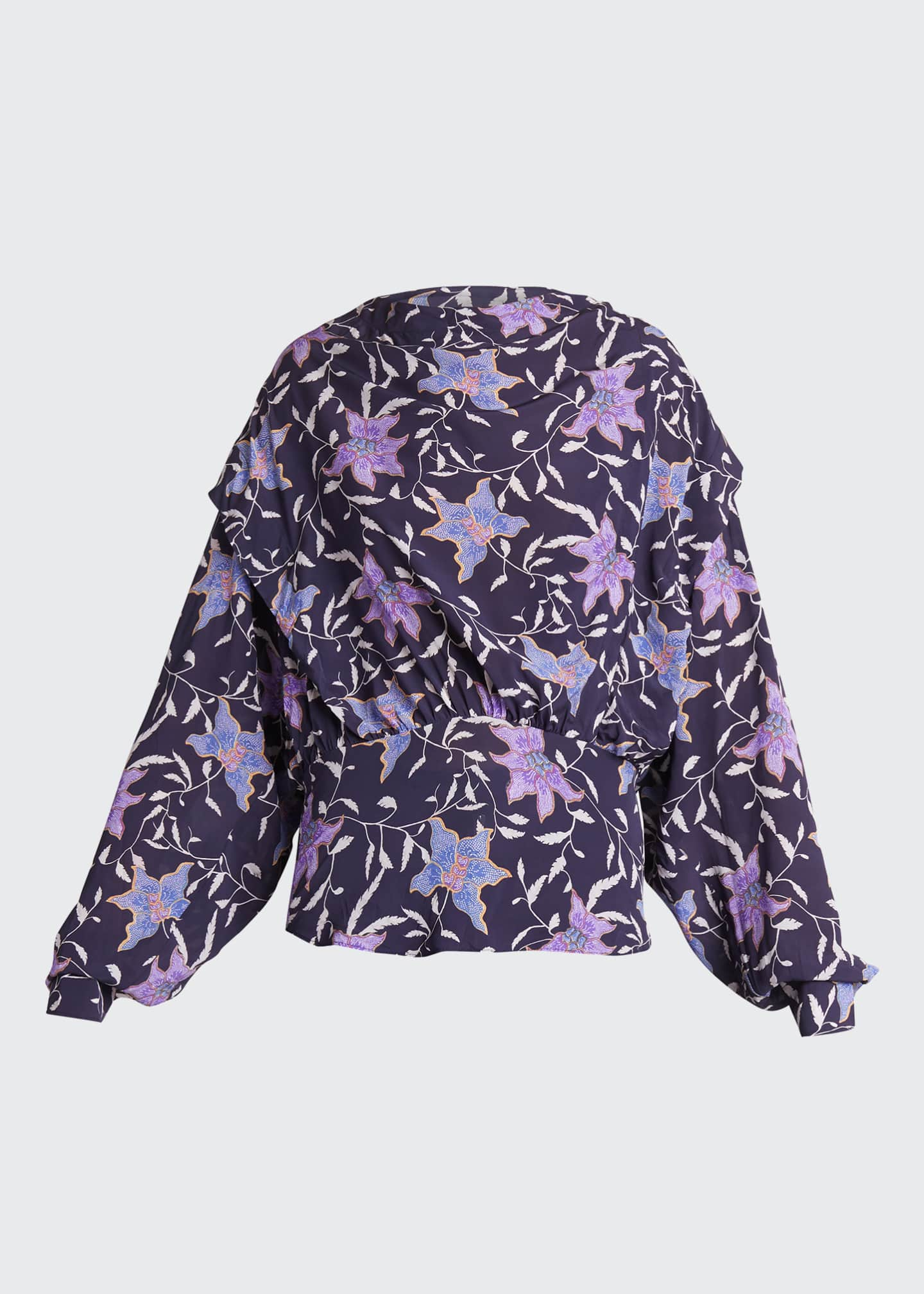 Image 5 of 5: Oxel City Floral Draped Blouse
