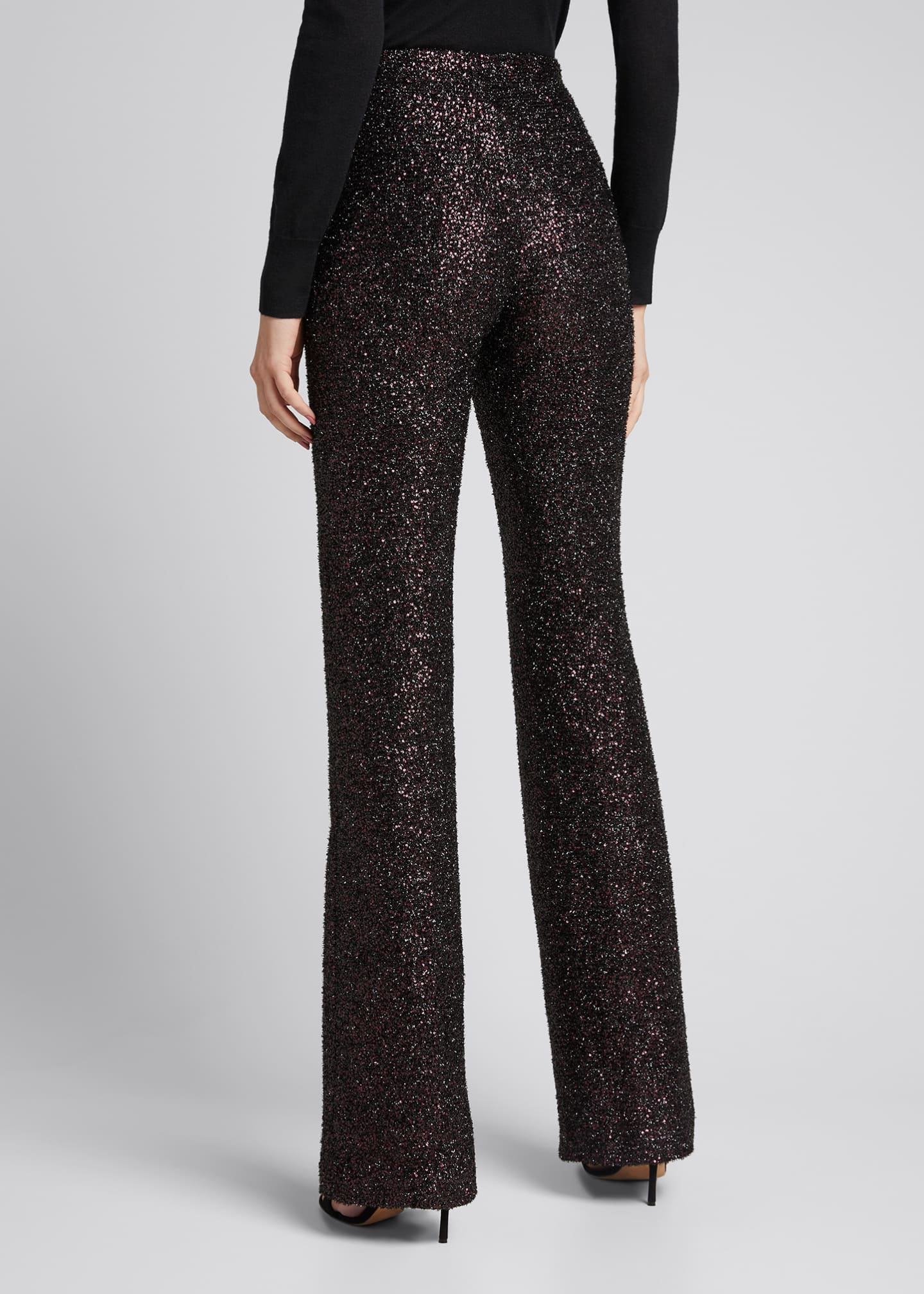 Image 2 of 5: Sequin Flared-Leg Pants