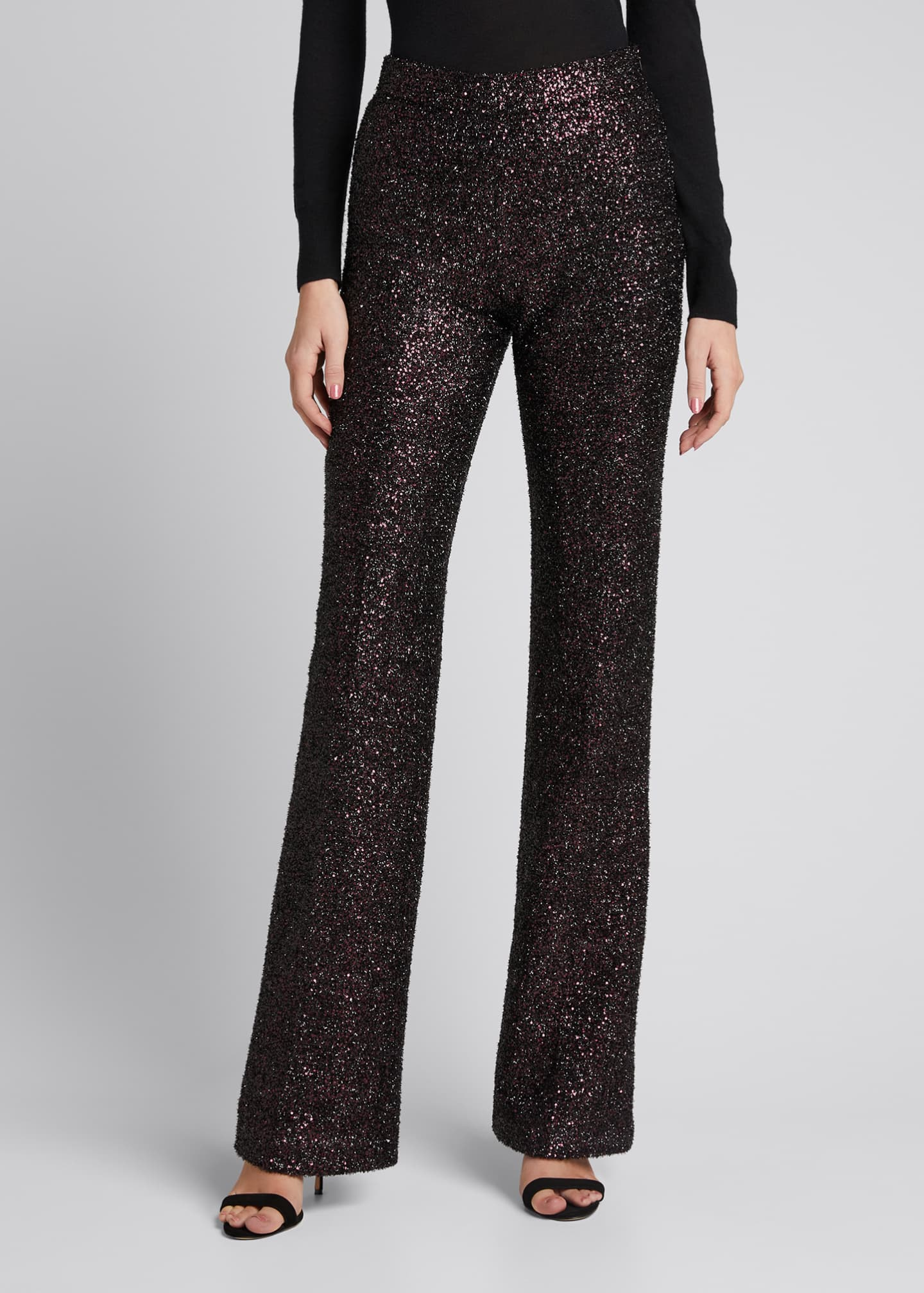 Image 3 of 5: Sequin Flared-Leg Pants