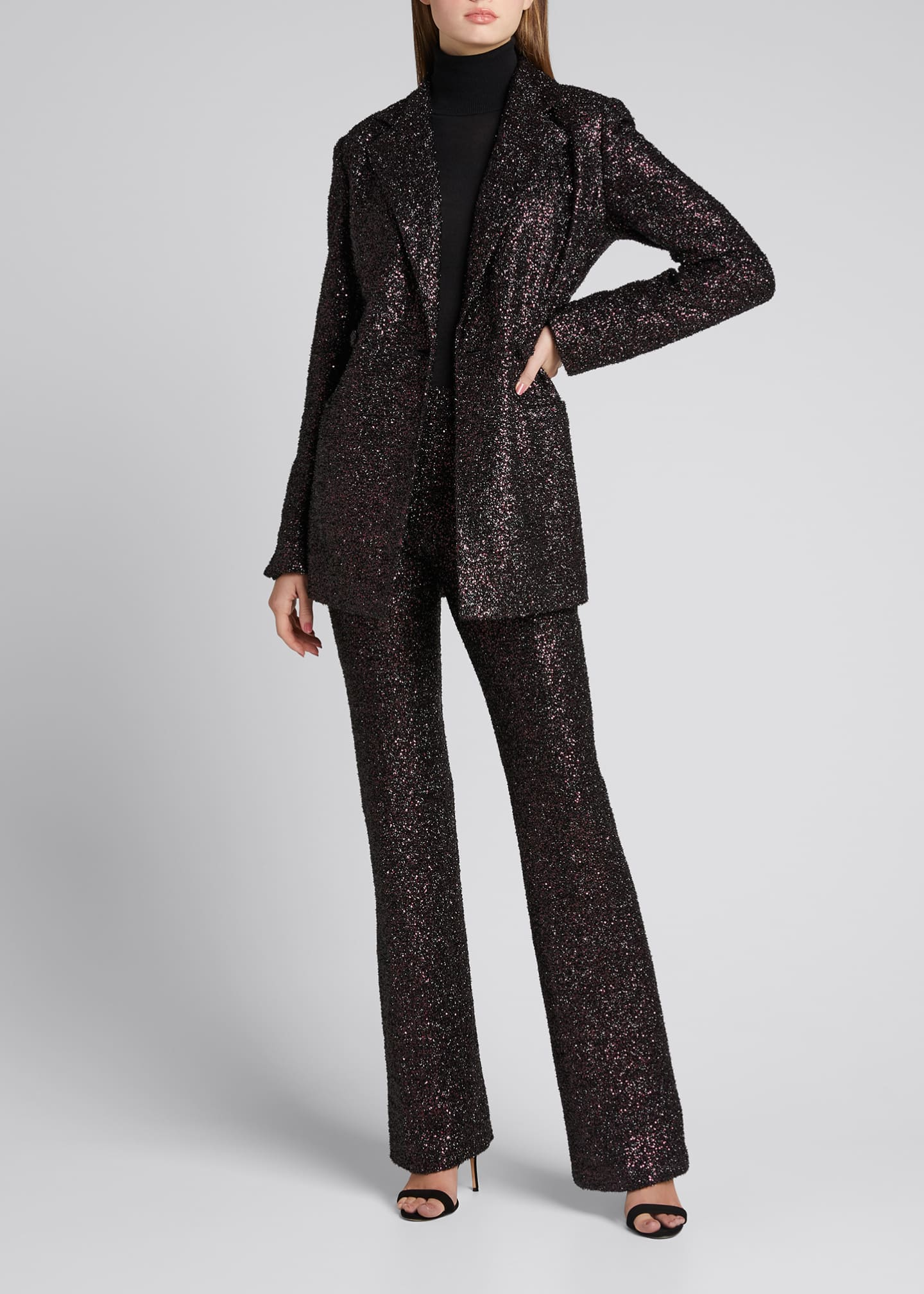 Sequin Flared-Leg Pants