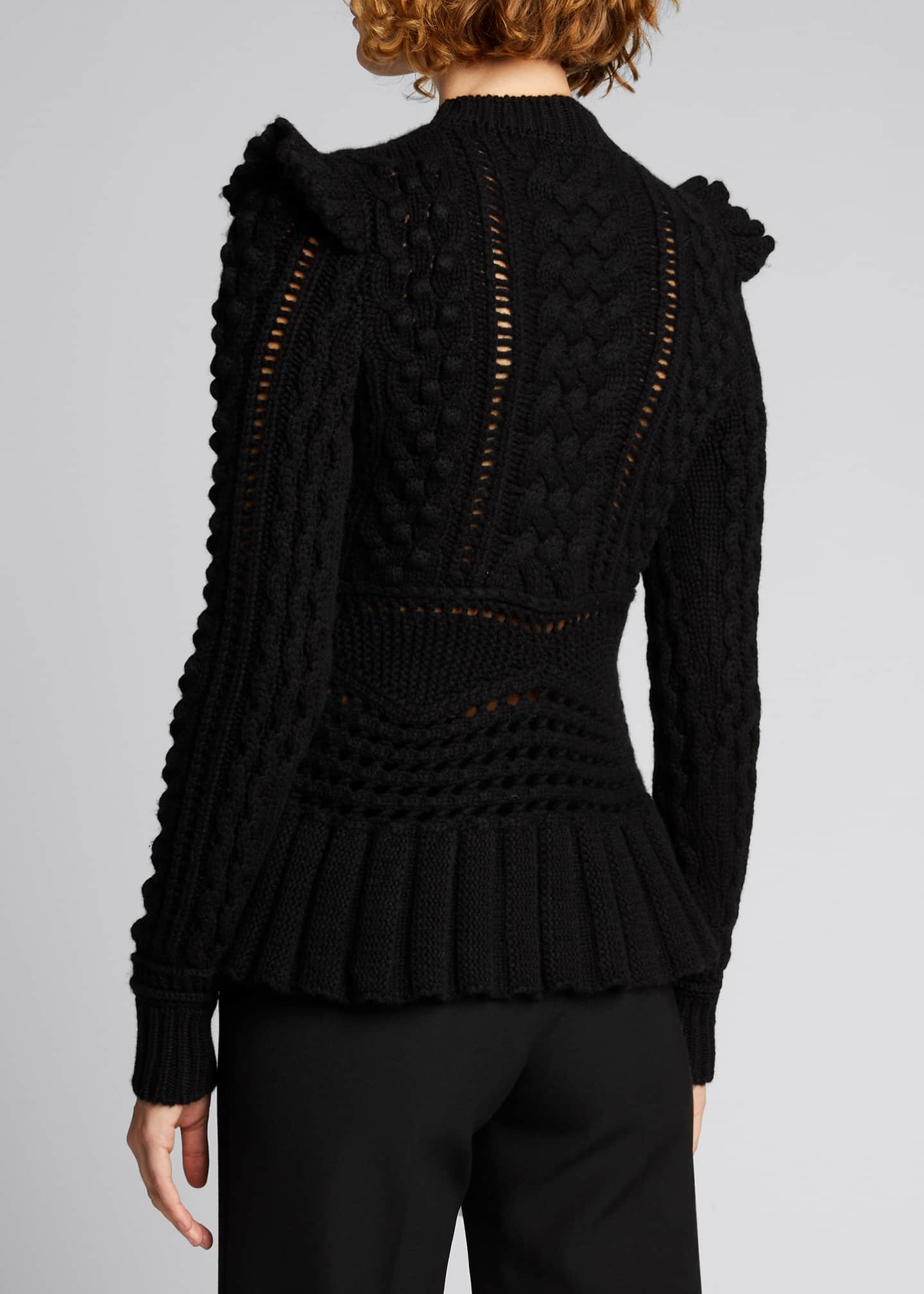 Image 2 of 5: Martha Cable-Knit Peplum Cashmere Sweater