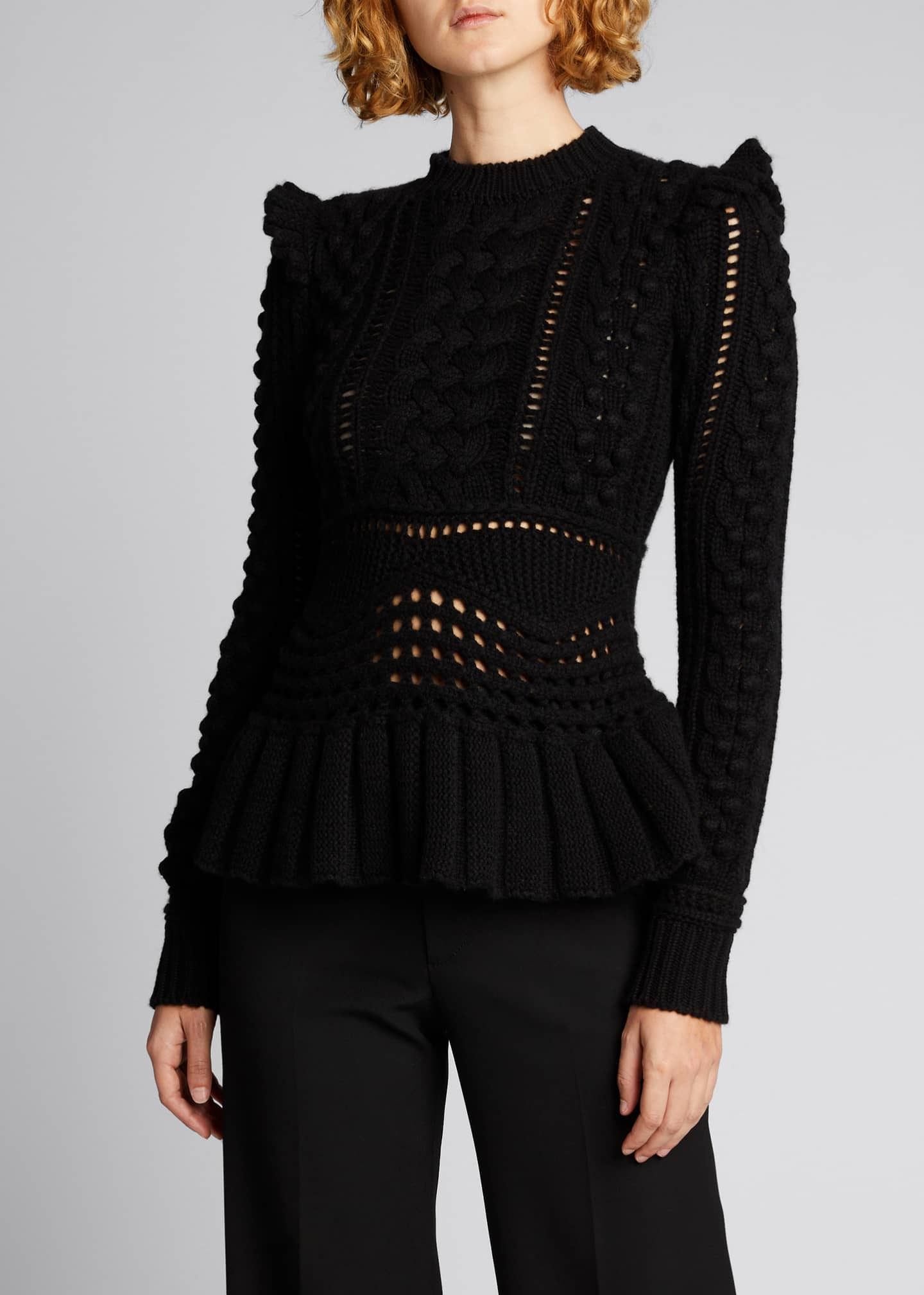 Image 3 of 5: Martha Cable-Knit Peplum Cashmere Sweater