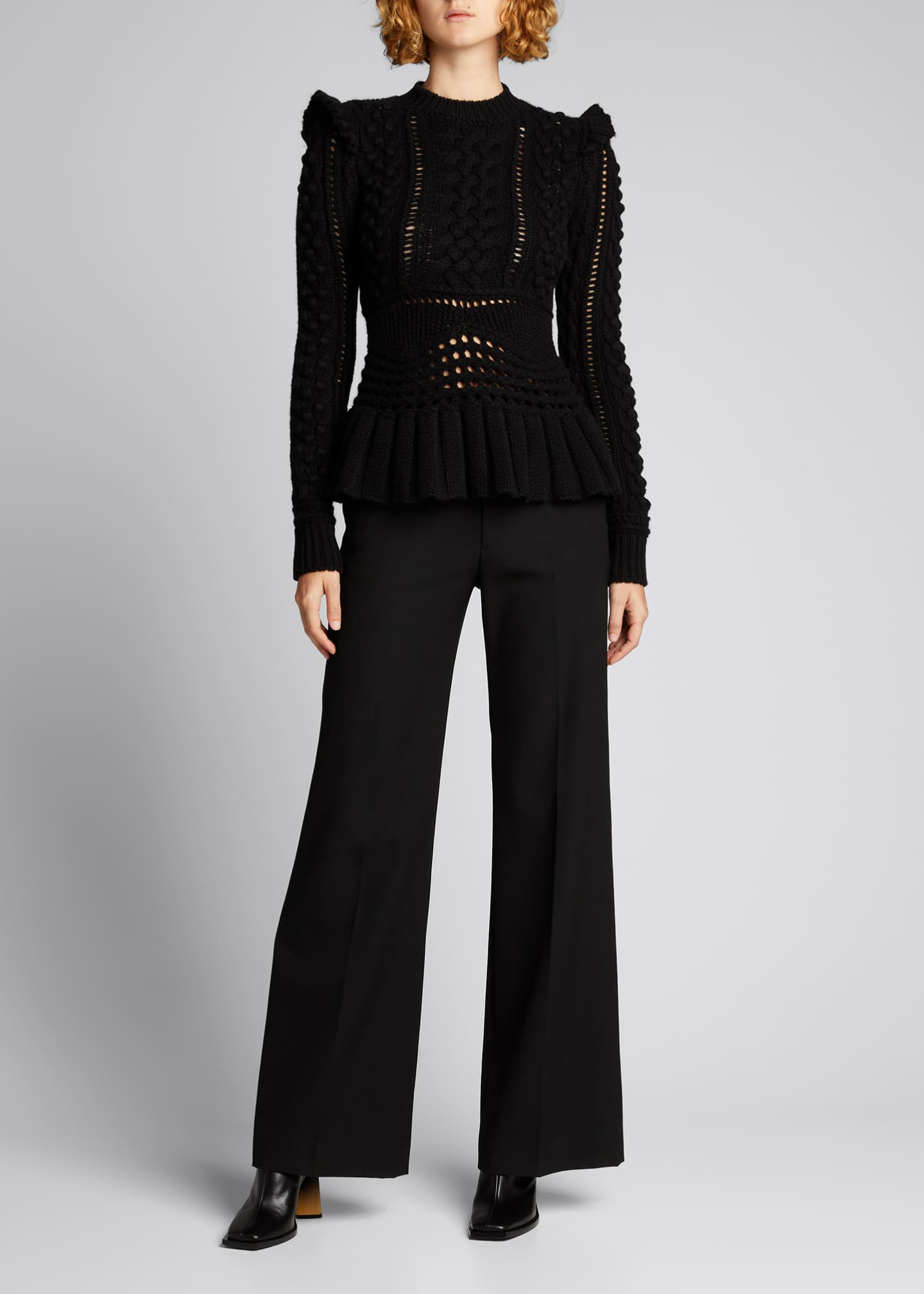 Image 1 of 5: Martha Cable-Knit Peplum Cashmere Sweater