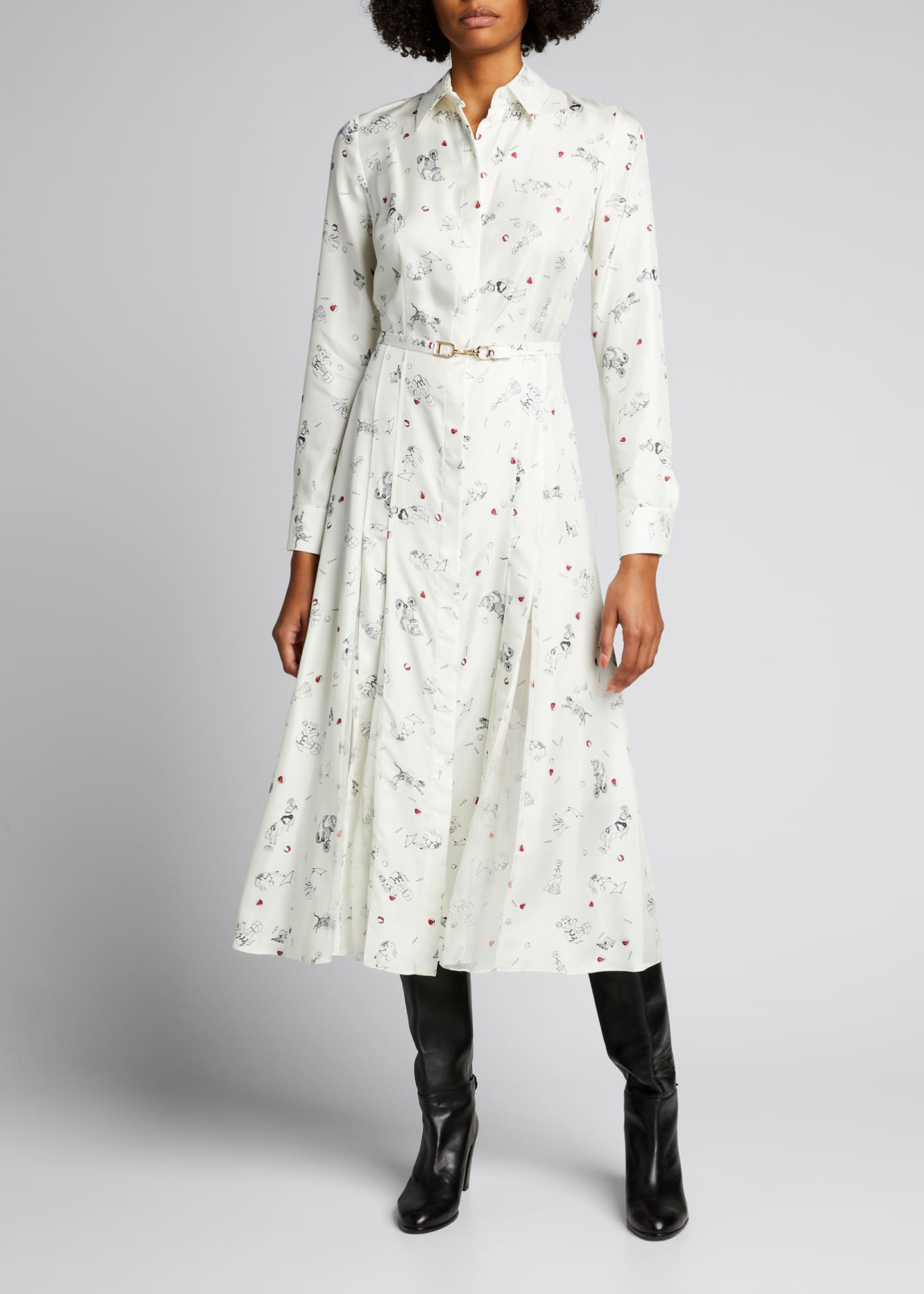 Image 3 of 5: Jane Belted Silk Shirtdress