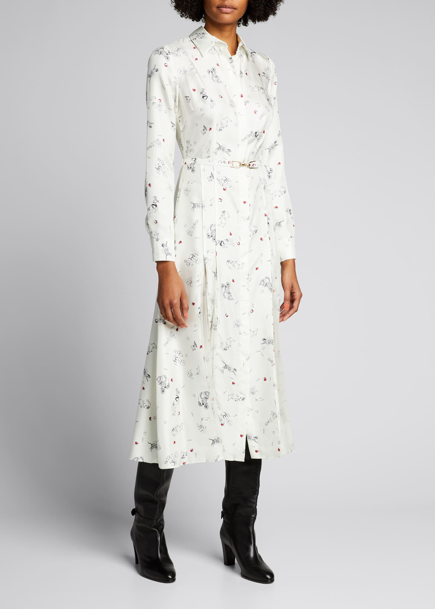 Image 1 of 5: Jane Belted Silk Shirtdress
