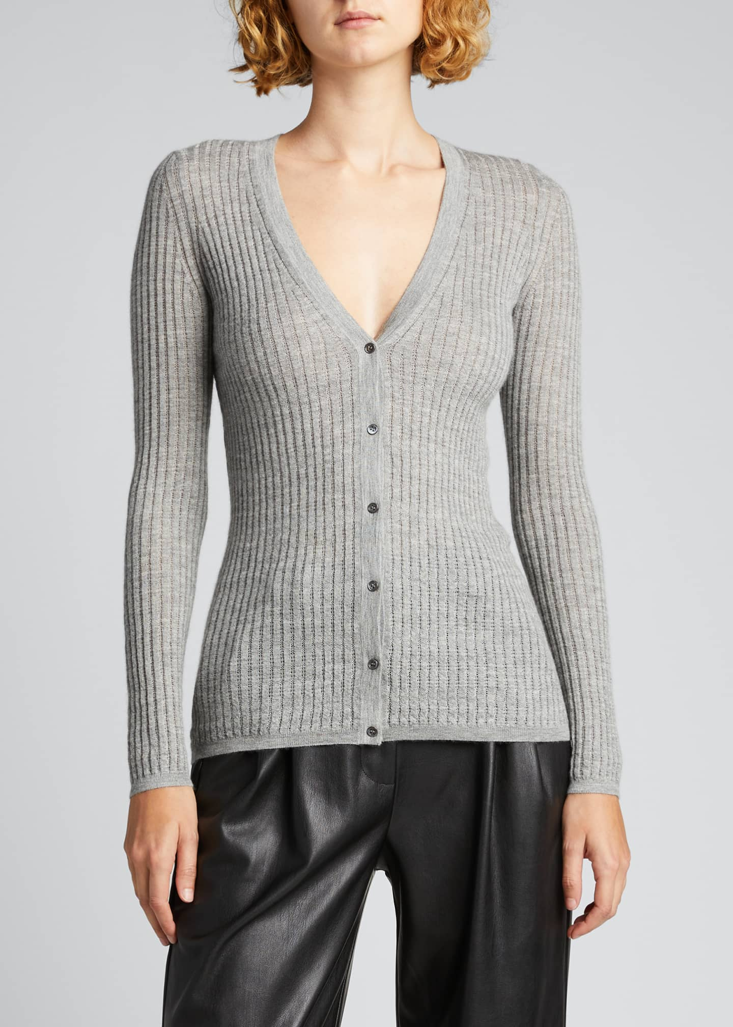 Image 3 of 5: Emma Cashmere-Silk Button-Front Cardigan