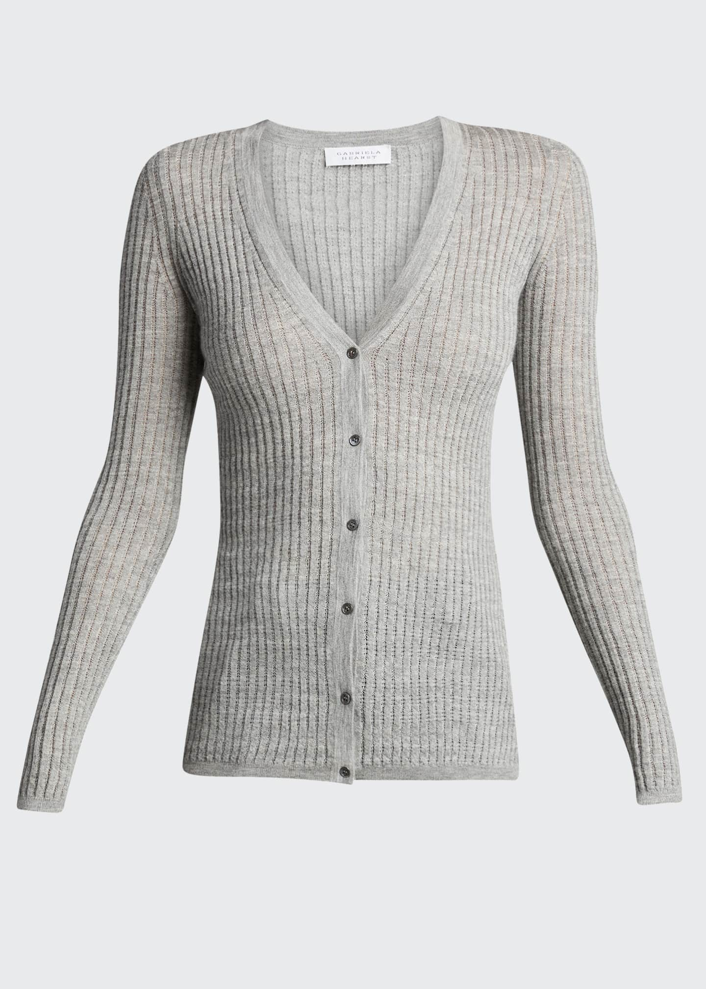 Image 5 of 5: Emma Cashmere-Silk Button-Front Cardigan