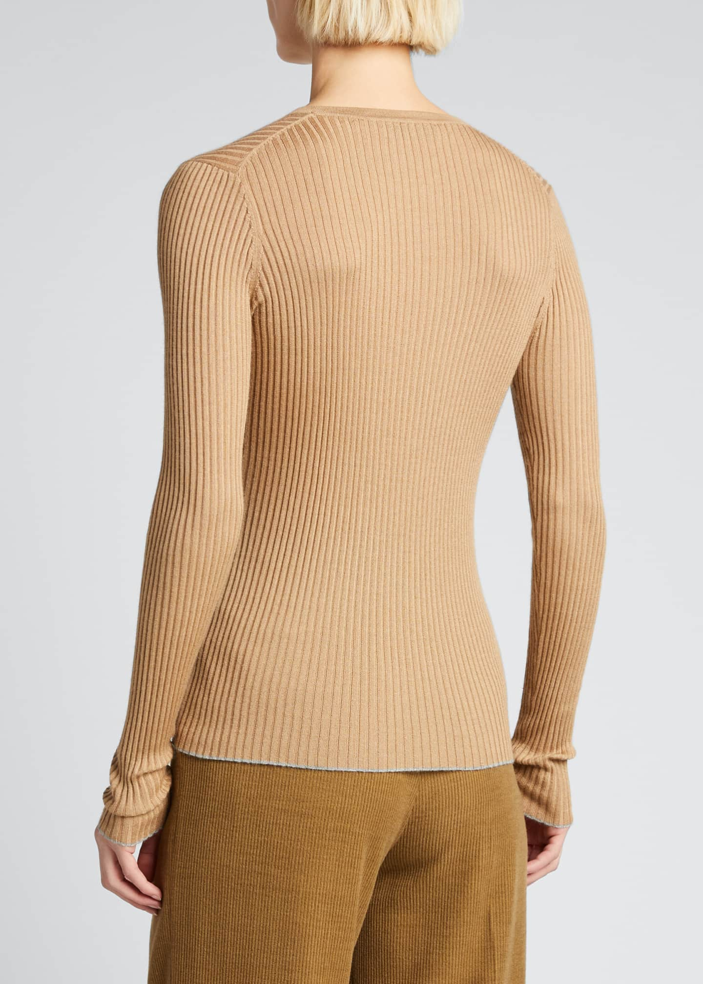 Image 2 of 5: Browning Rib Knit Cashmere-Silk Sweater w/ Tipping