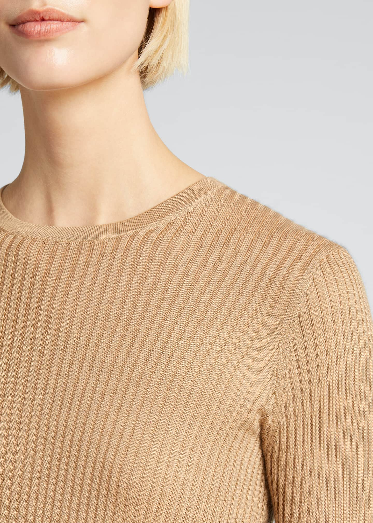 Image 4 of 5: Browning Rib Knit Cashmere-Silk Sweater w/ Tipping
