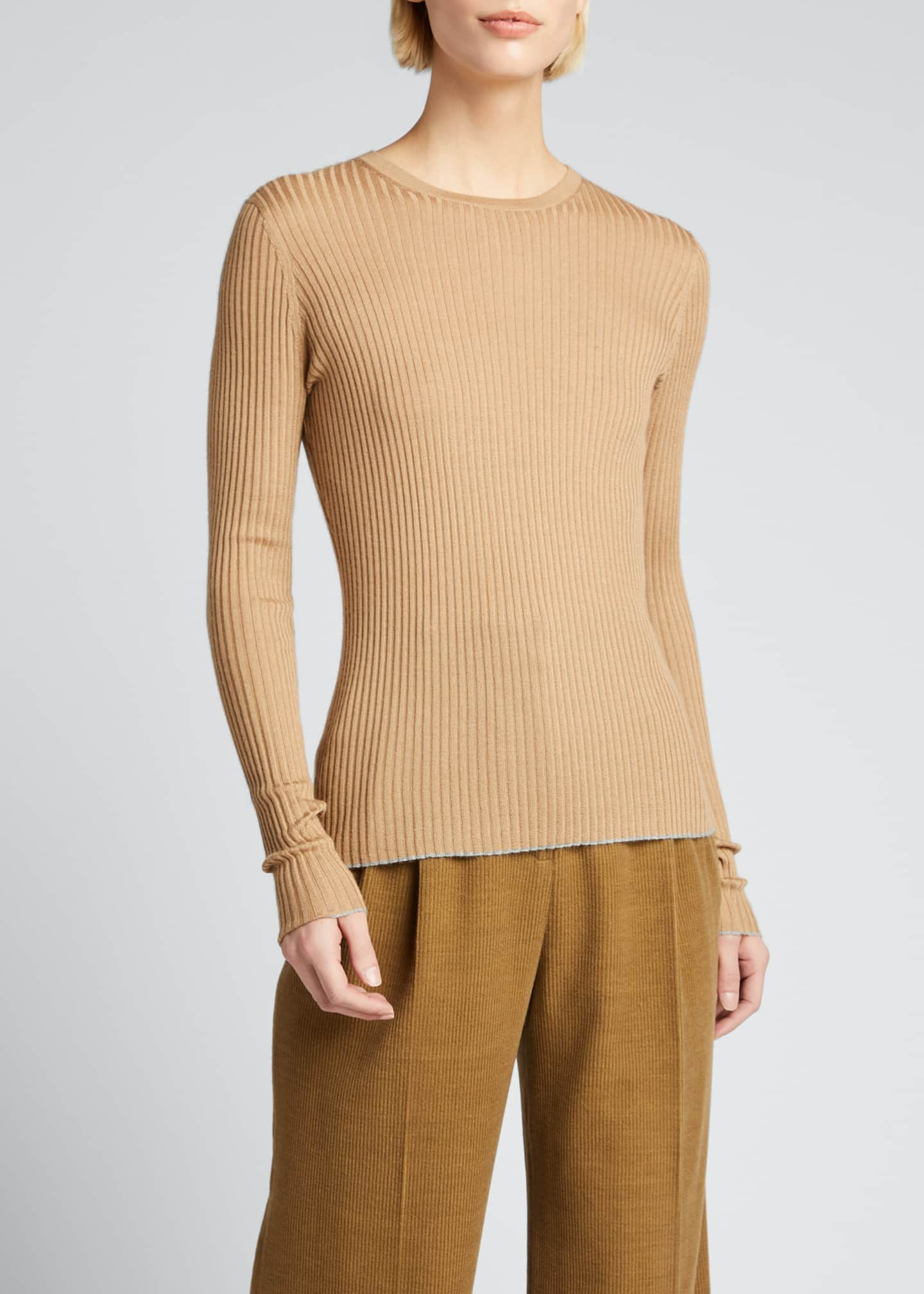 Image 1 of 5: Browning Rib Knit Cashmere-Silk Sweater w/ Tipping