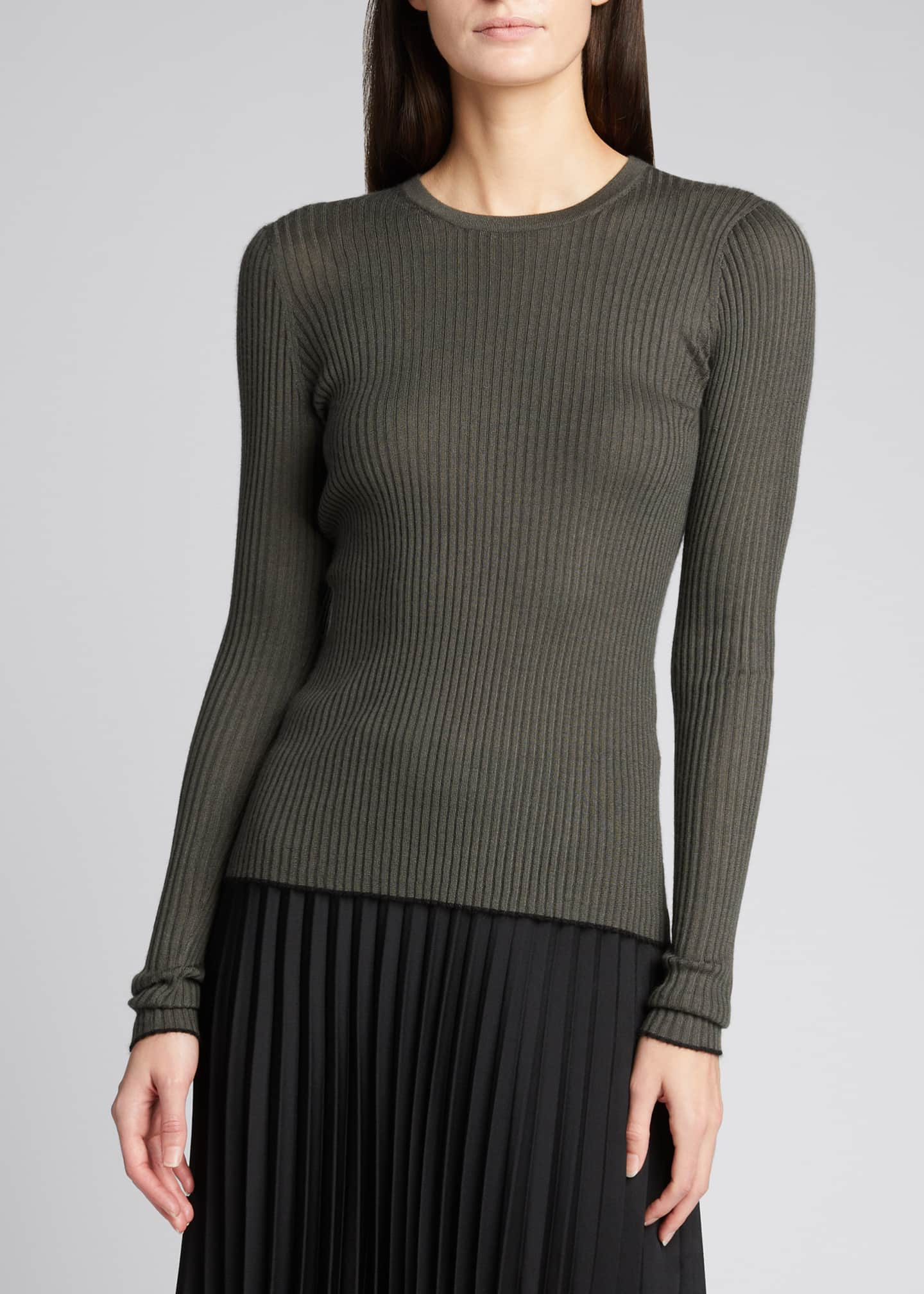 Image 3 of 5: Browning Rib Knit Cashmere-Silk Sweater w/ Tipping