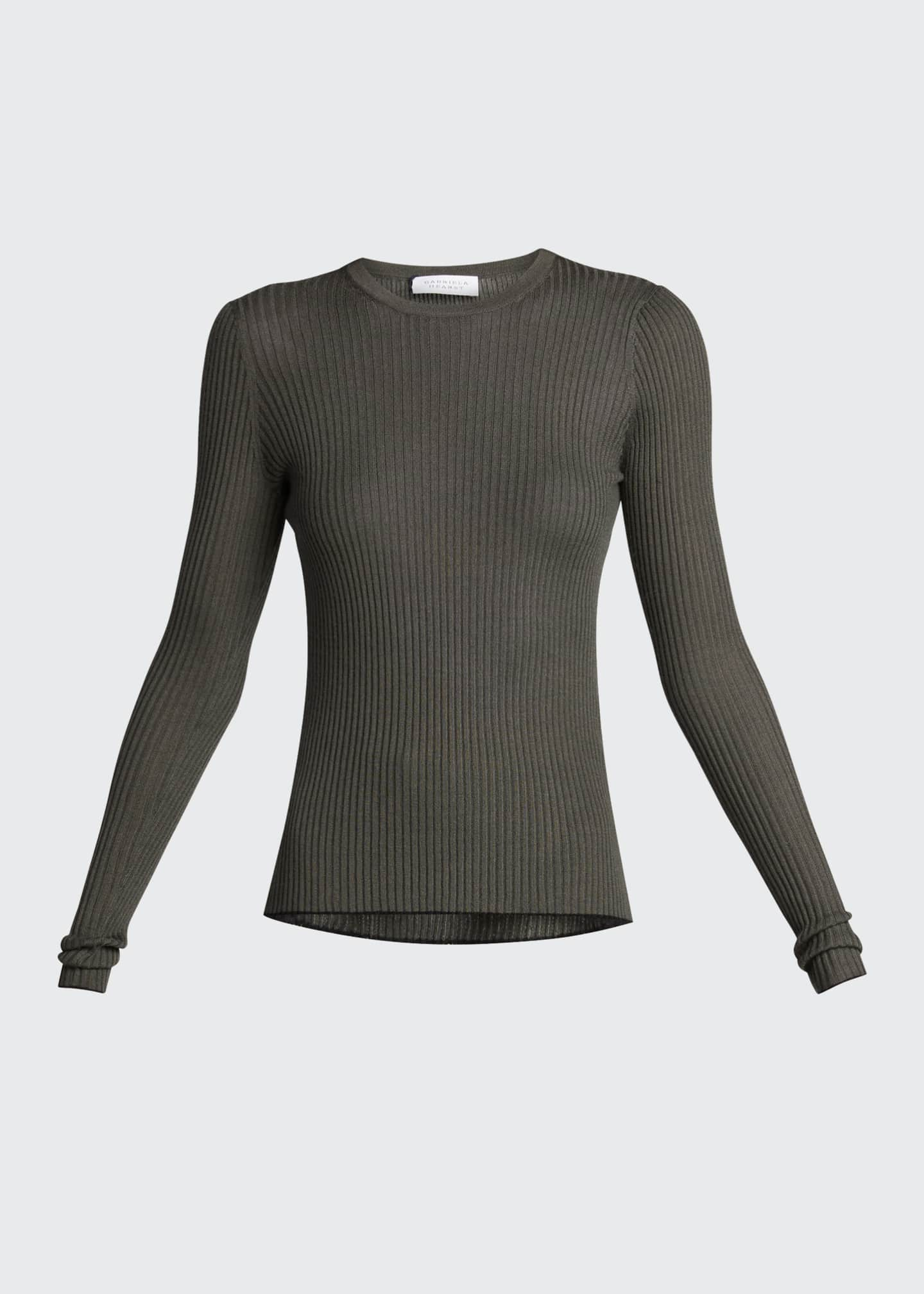 Image 5 of 5: Browning Rib Knit Cashmere-Silk Sweater w/ Tipping