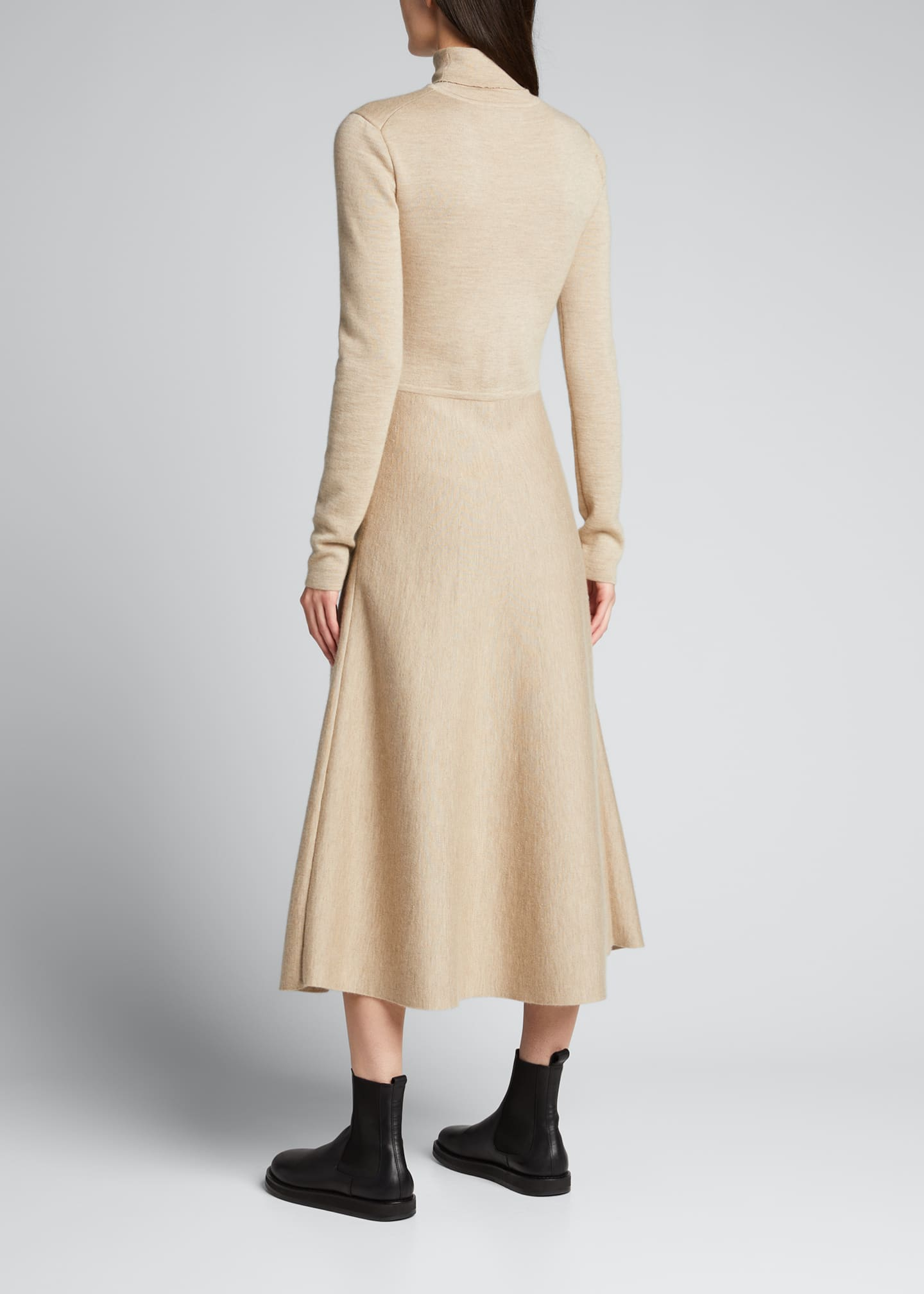 Image 2 of 5: Betti Double-Knit Cashmere/Silk Turtleneck Dress