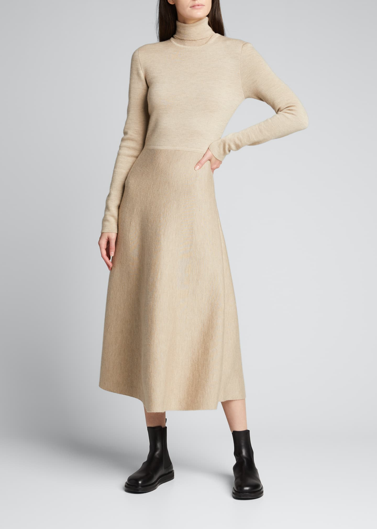 Image 3 of 5: Betti Double-Knit Cashmere/Silk Turtleneck Dress