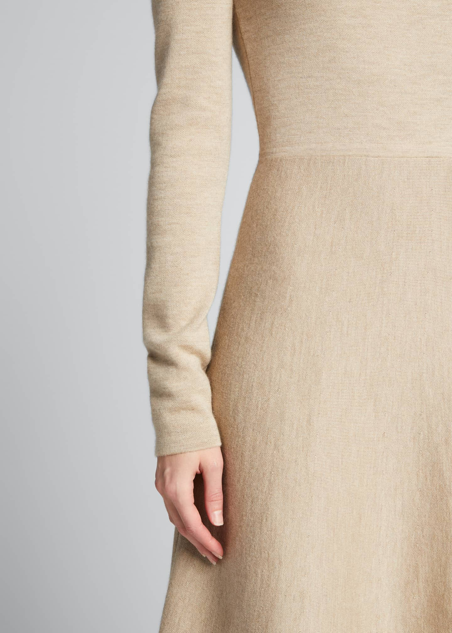Image 4 of 5: Betti Double-Knit Cashmere/Silk Turtleneck Dress