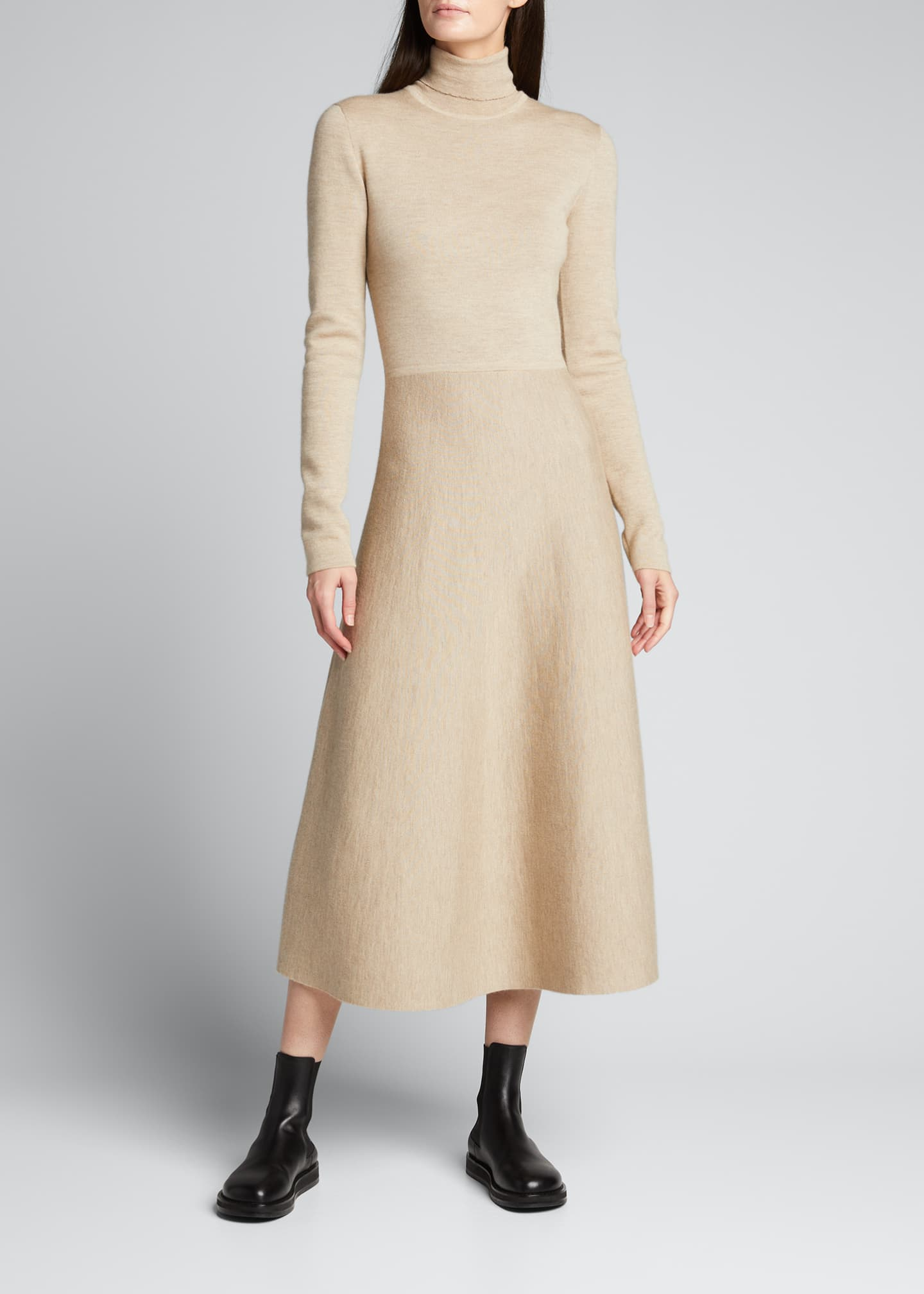 Image 1 of 5: Betti Double-Knit Cashmere/Silk Turtleneck Dress