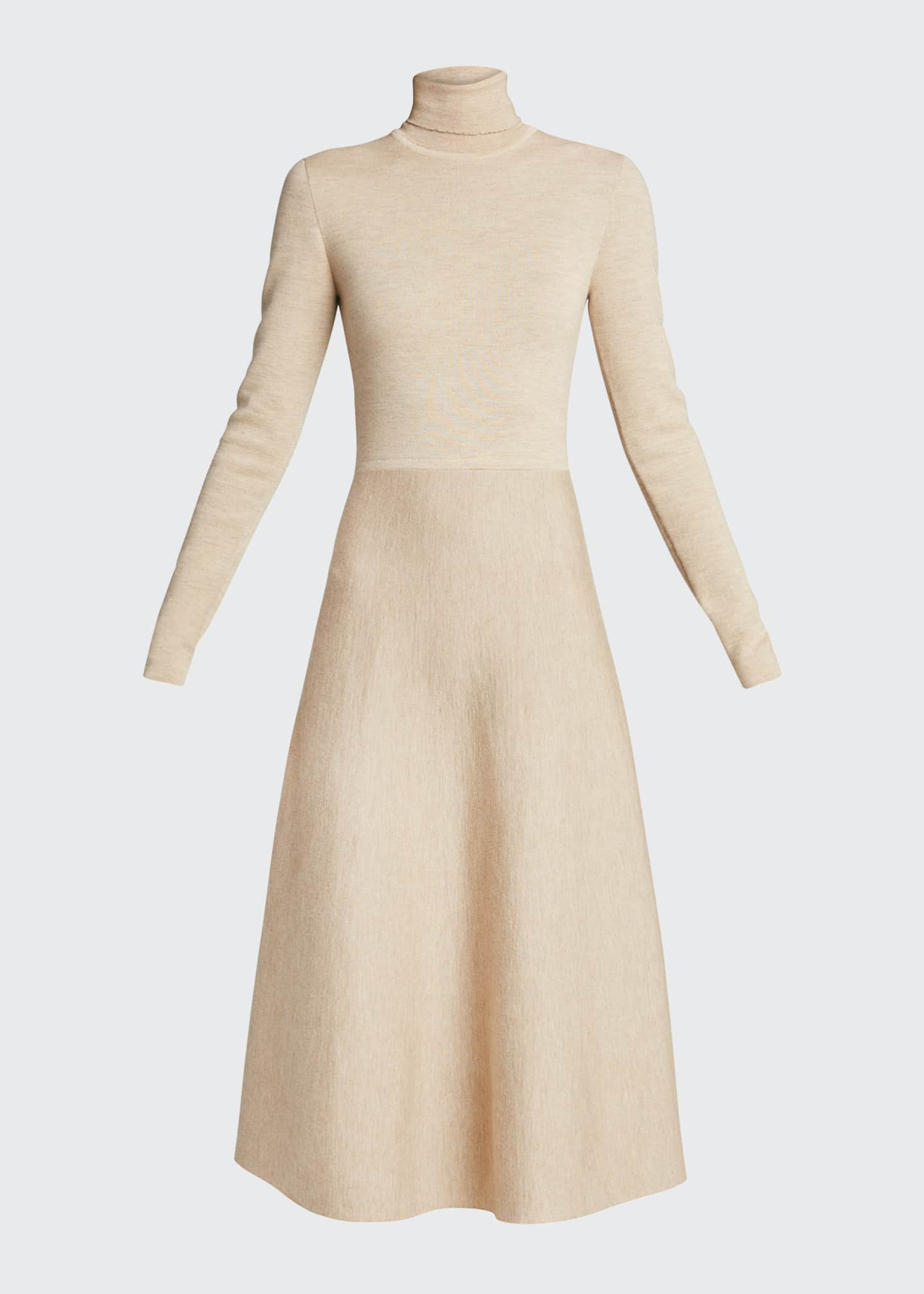 Image 5 of 5: Betti Double-Knit Cashmere/Silk Turtleneck Dress