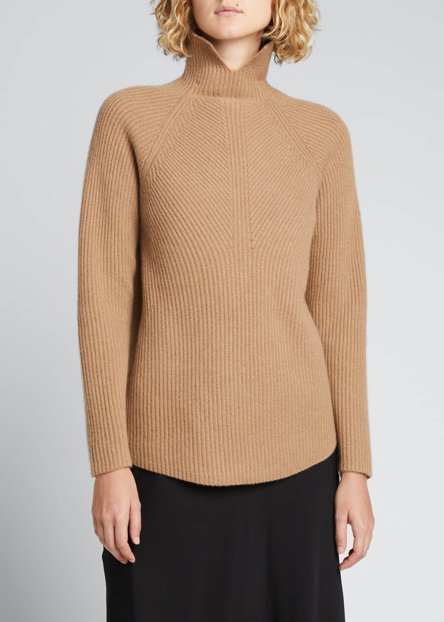Image 3 of 5: Ribbed Turtleneck Cashmere Sweater