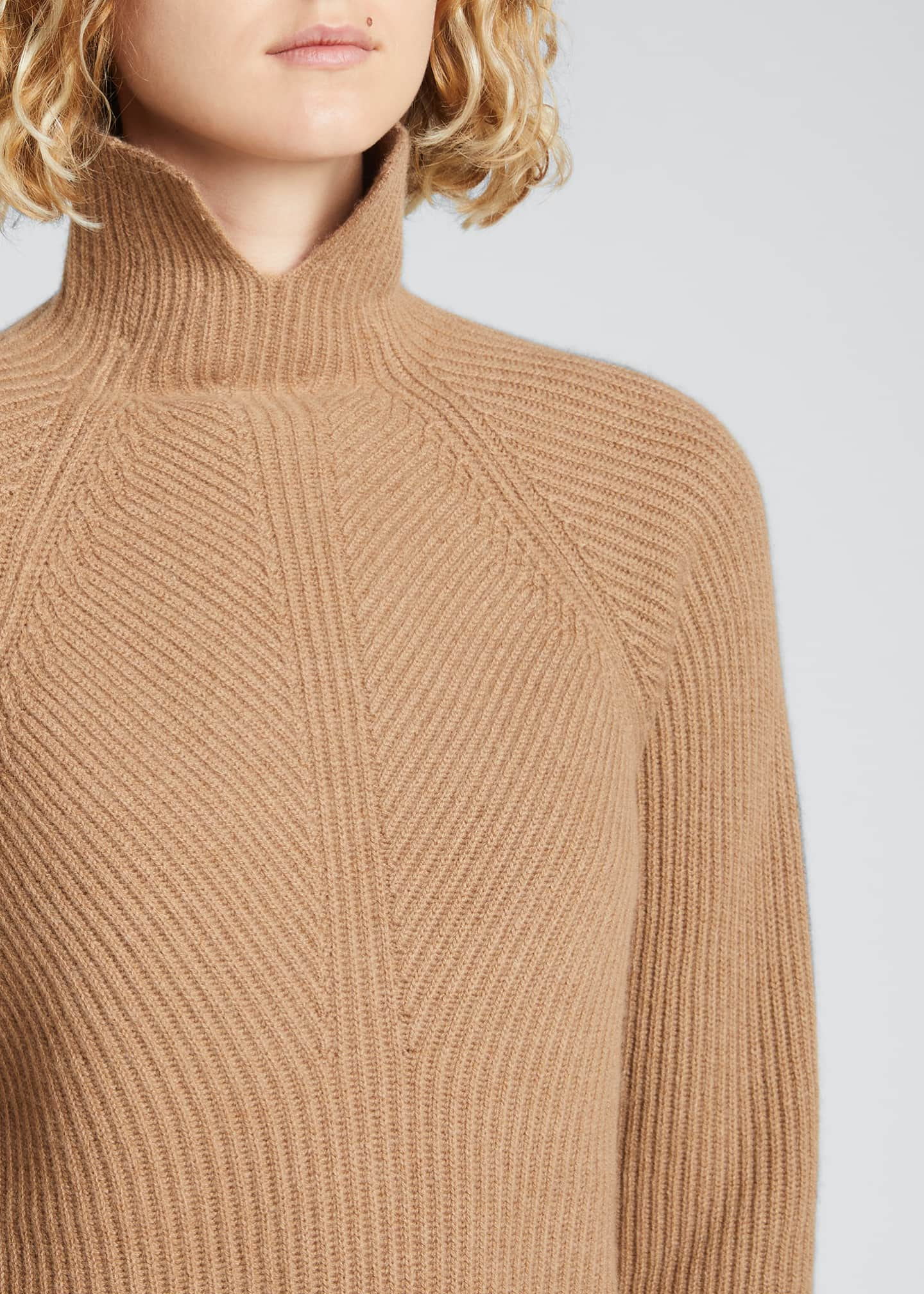 Image 4 of 5: Ribbed Turtleneck Cashmere Sweater