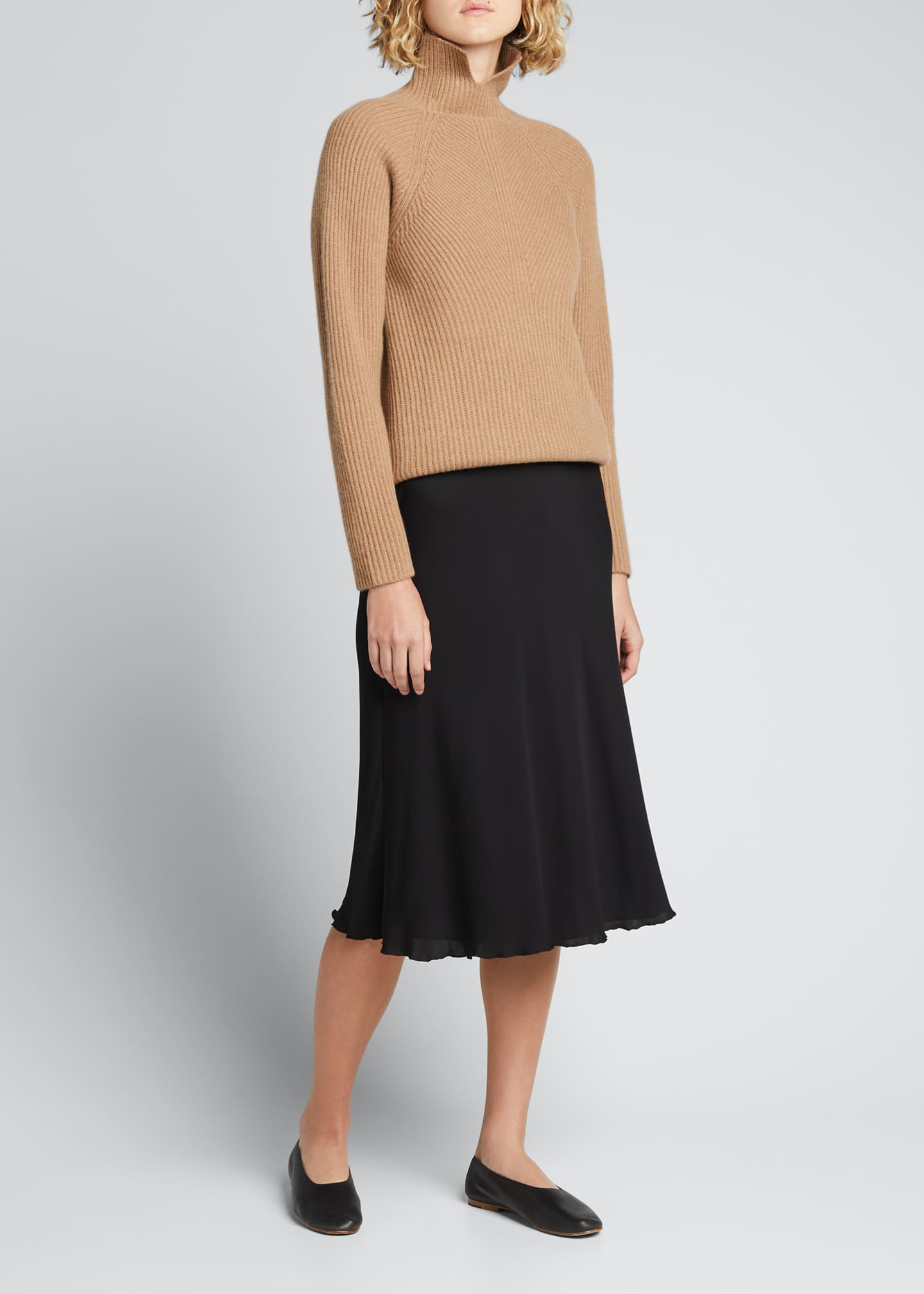 Image 1 of 5: Ribbed Turtleneck Cashmere Sweater