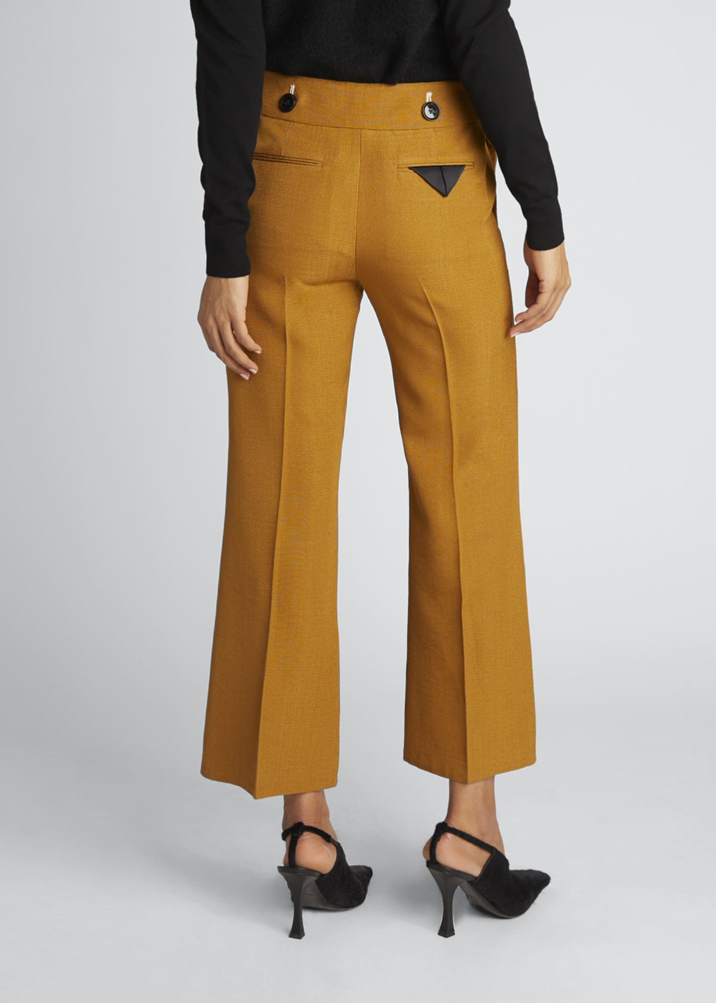 Image 2 of 4: Viscose Silk Suiting Crop Flare Pants